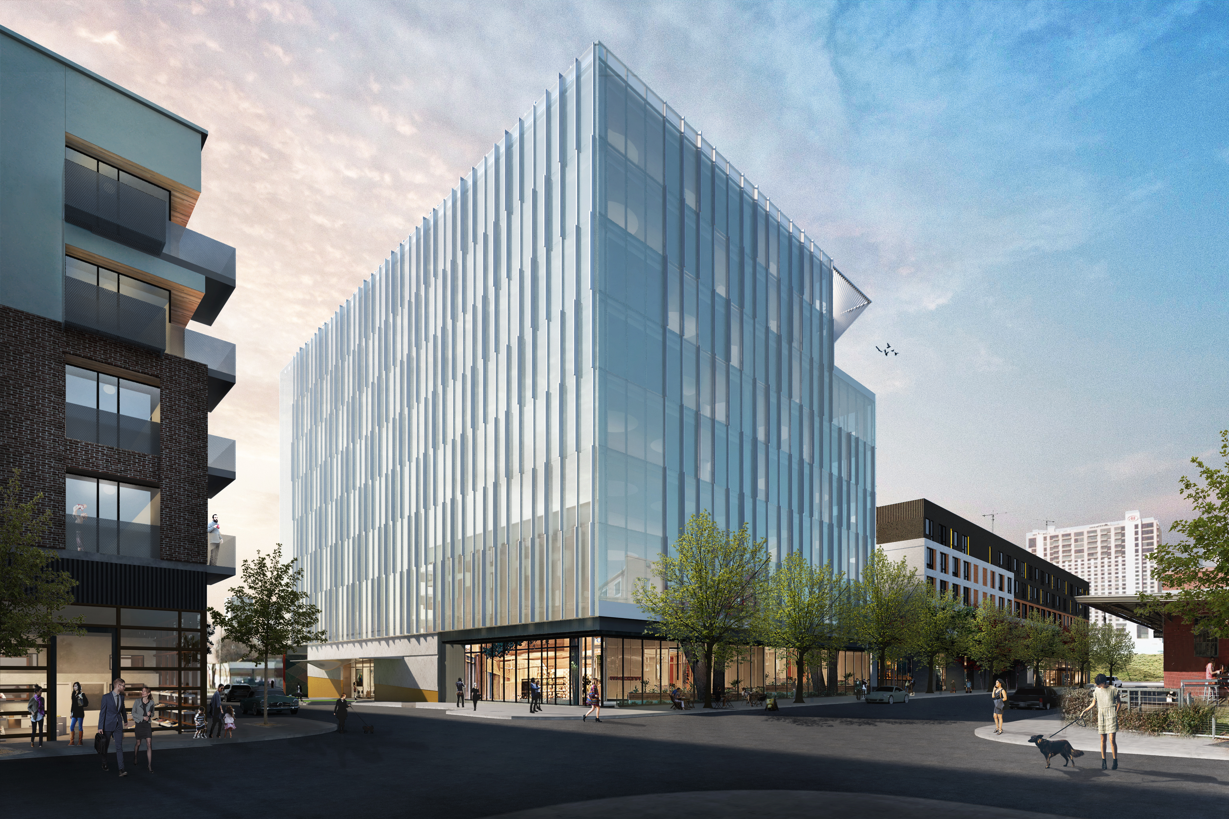 Rendering of 7-story glass office building