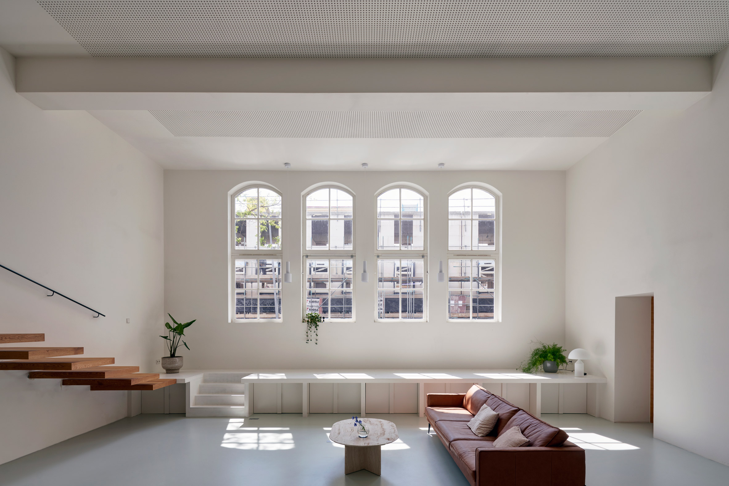 Living room with large arched windows