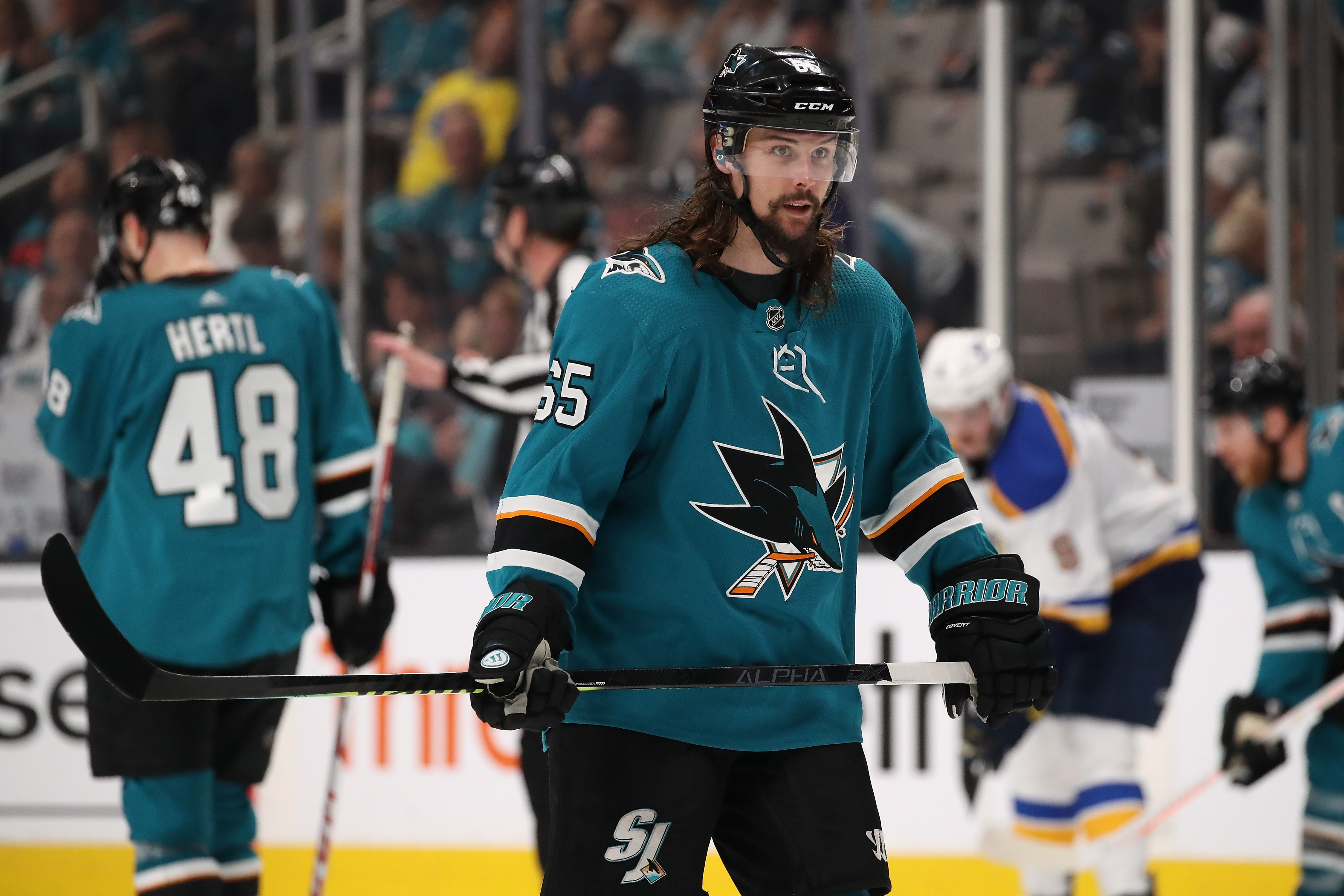 SAN JOSE, CALIFORNIA - MAY 11: Erik Karlsson #65 of the San Jose Sharks against the St. Louis Blues in Game 1 NHL Western Conference Final during the 2019 NHL Stanley Cup Playoffs at SAP Center on May 11, 2019 in San Jose, California.