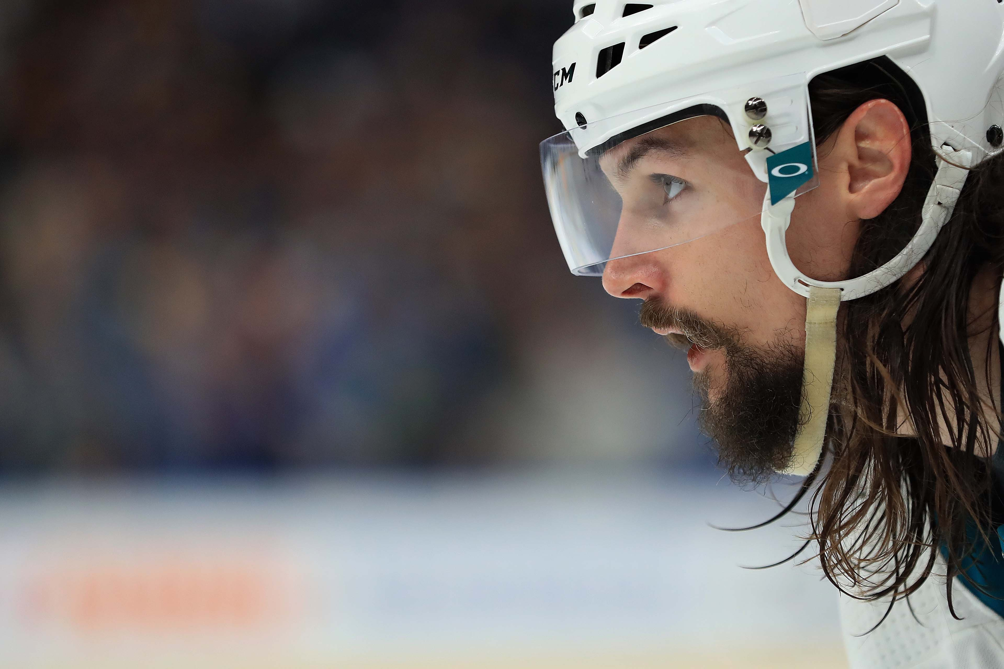 San Jose Sharks defenseman Erik Karlsson (65) awaits the face-off against the St. Louis Blues in the third period during game four of the Western Conference Final of the 2019 Stanley Cup Playoffs at Enterprise Center.