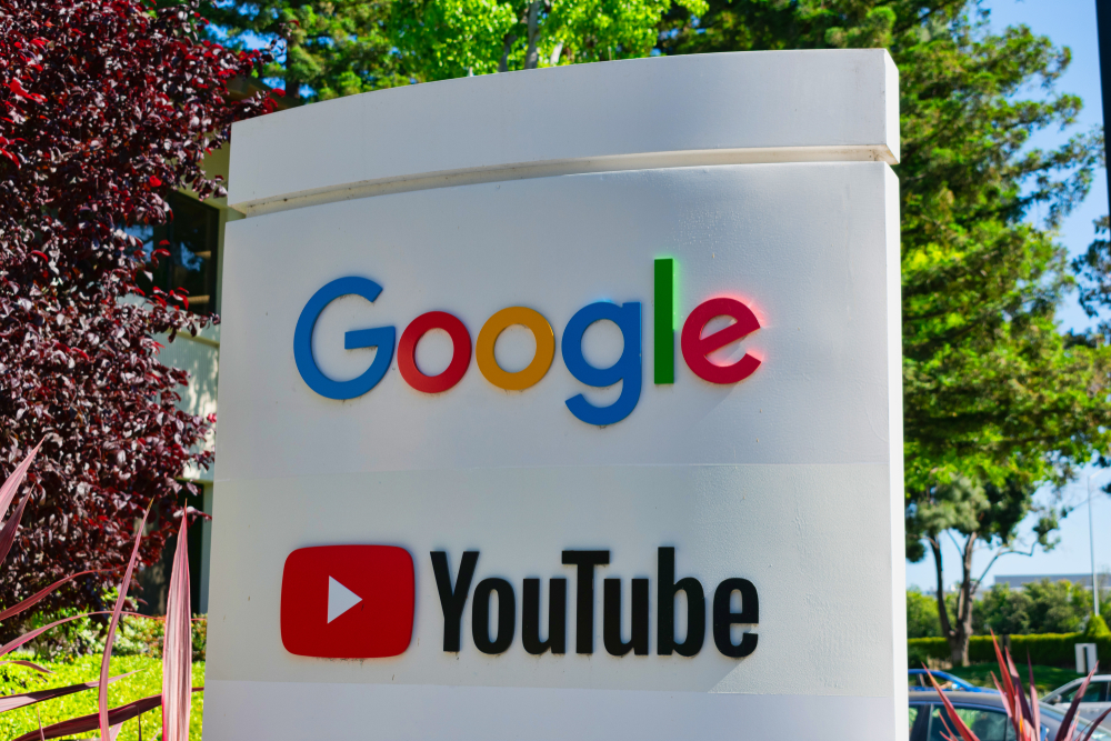 A sign marking the Google and YouTube HQ in Mountain View.