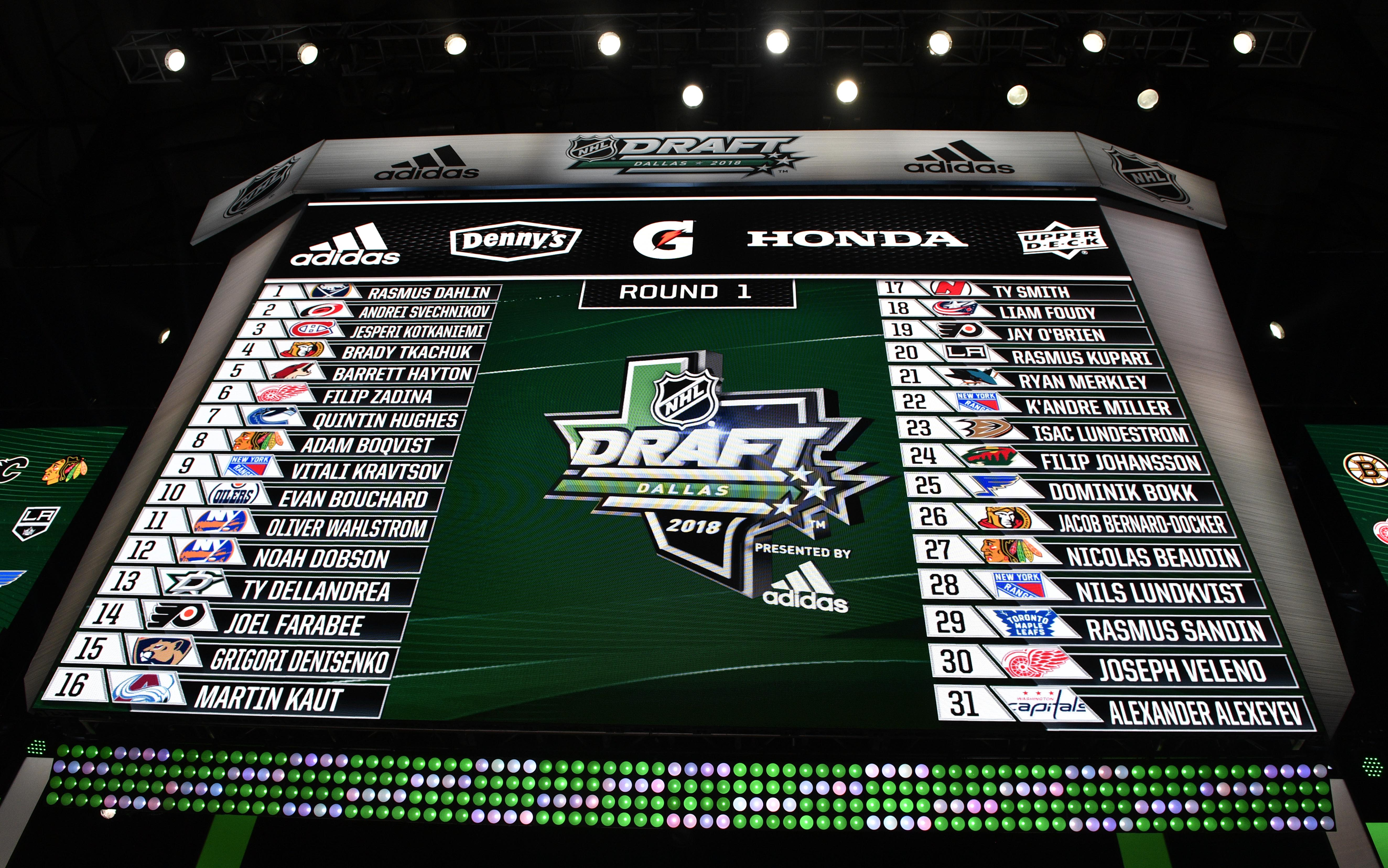 Jun 22, 2018; Dallas, TX, USA; A general view of the draft board with the first round picks after the first round of the 2018 NHL Draft at American Airlines Center.