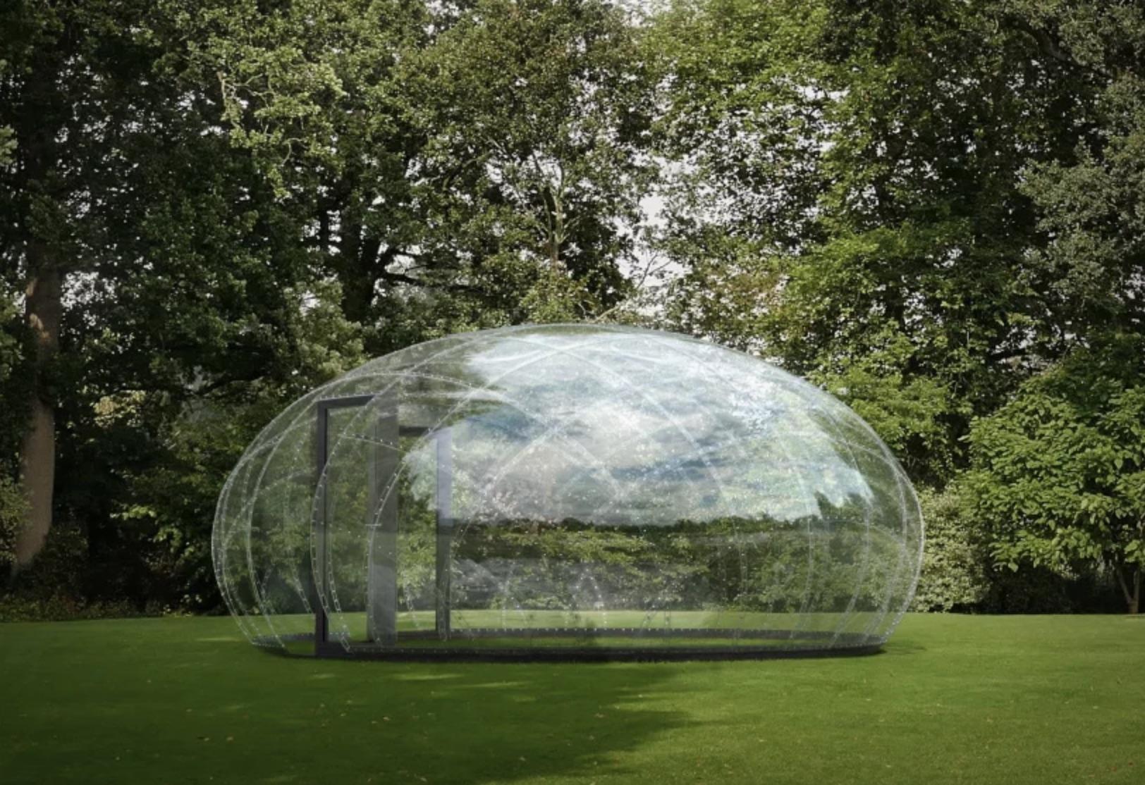 Transparent pavilion looks like a massive water droplet