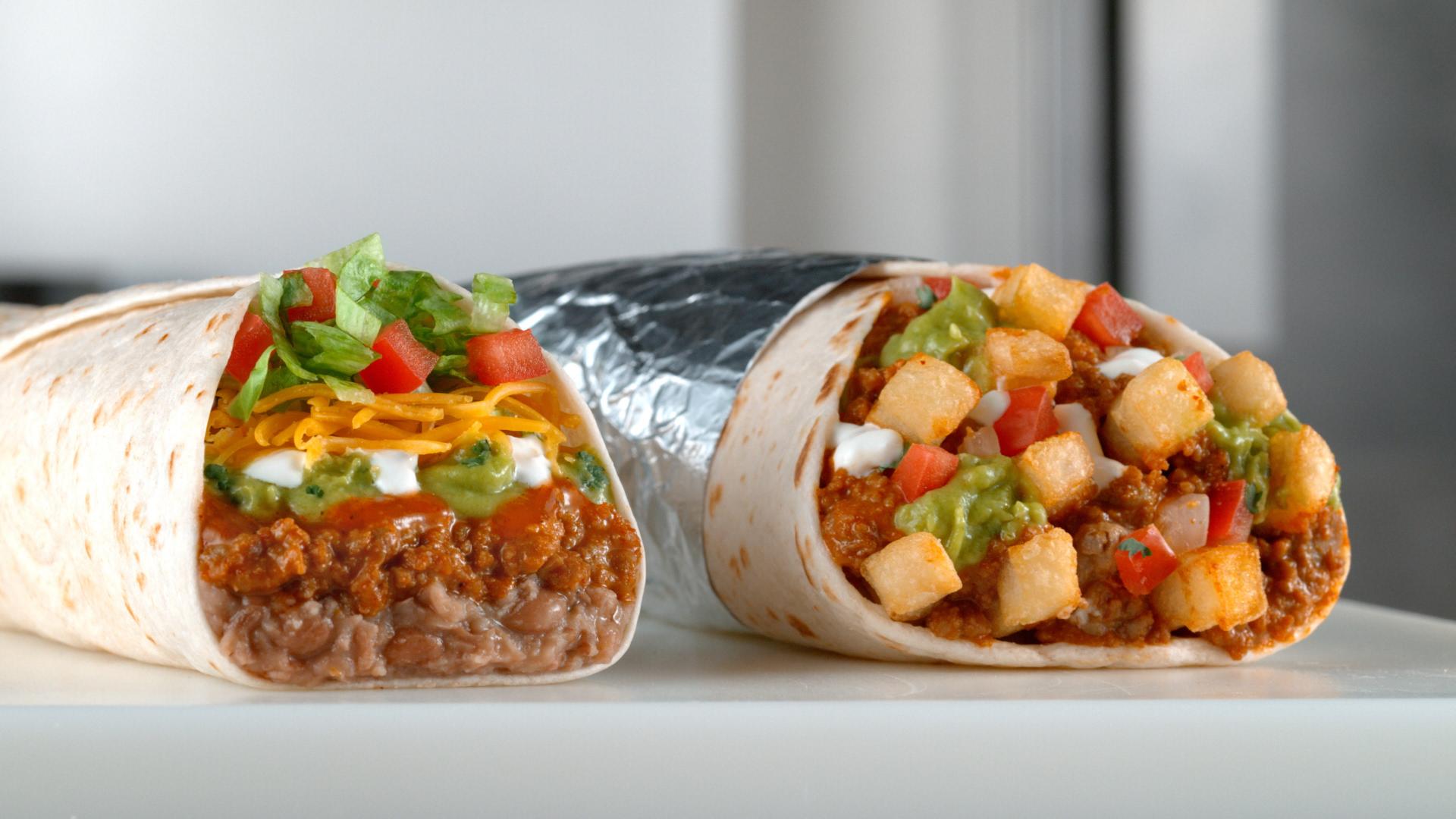 Two Del Taco burritos.