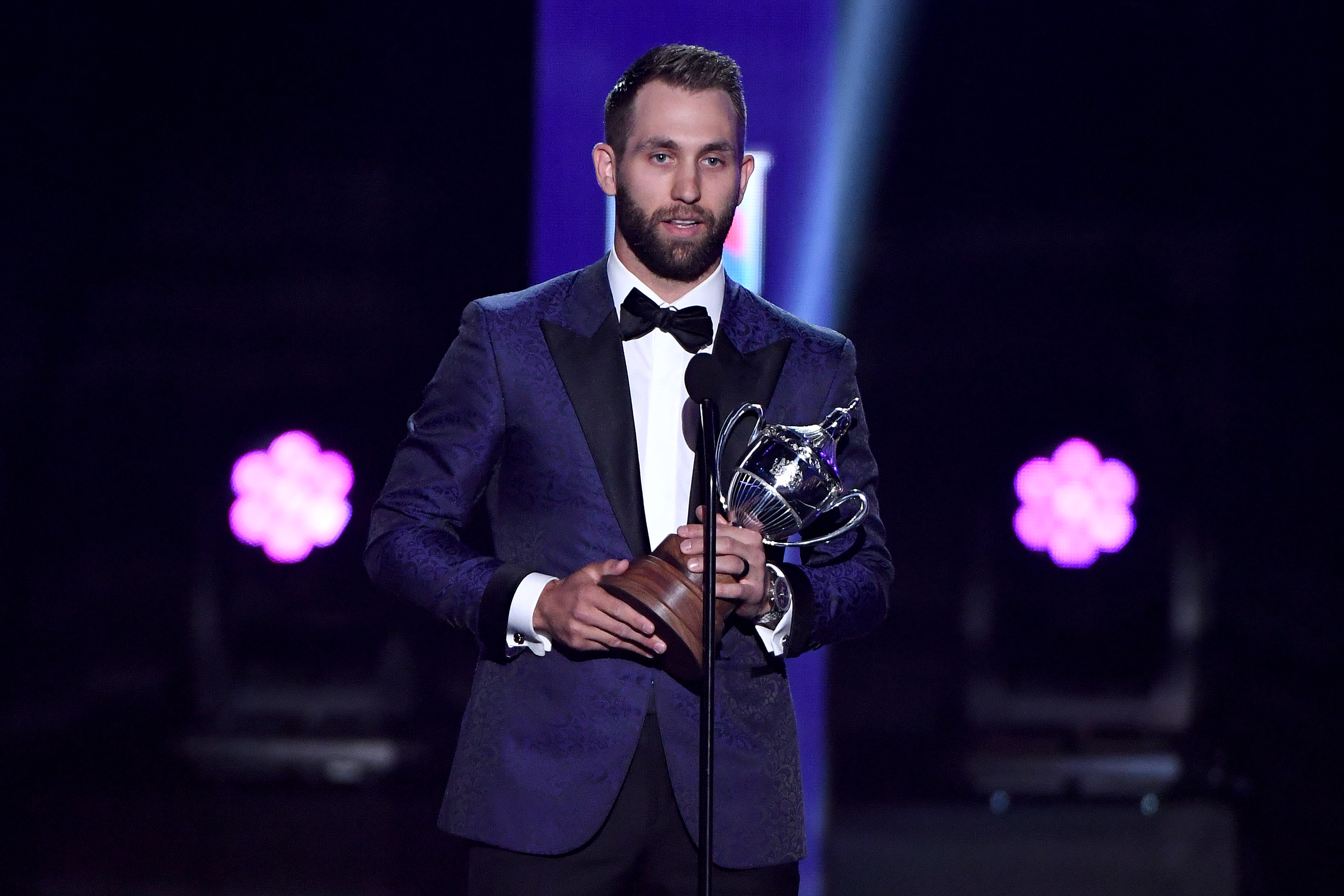 Jason Zucker of the Minnesota Wild accepts the King Clancy Memorial Trophy during the 2019 NHL Awards at the Mandalay Bay Events Center on June 19, 2019 in Las Vegas, Nevada.