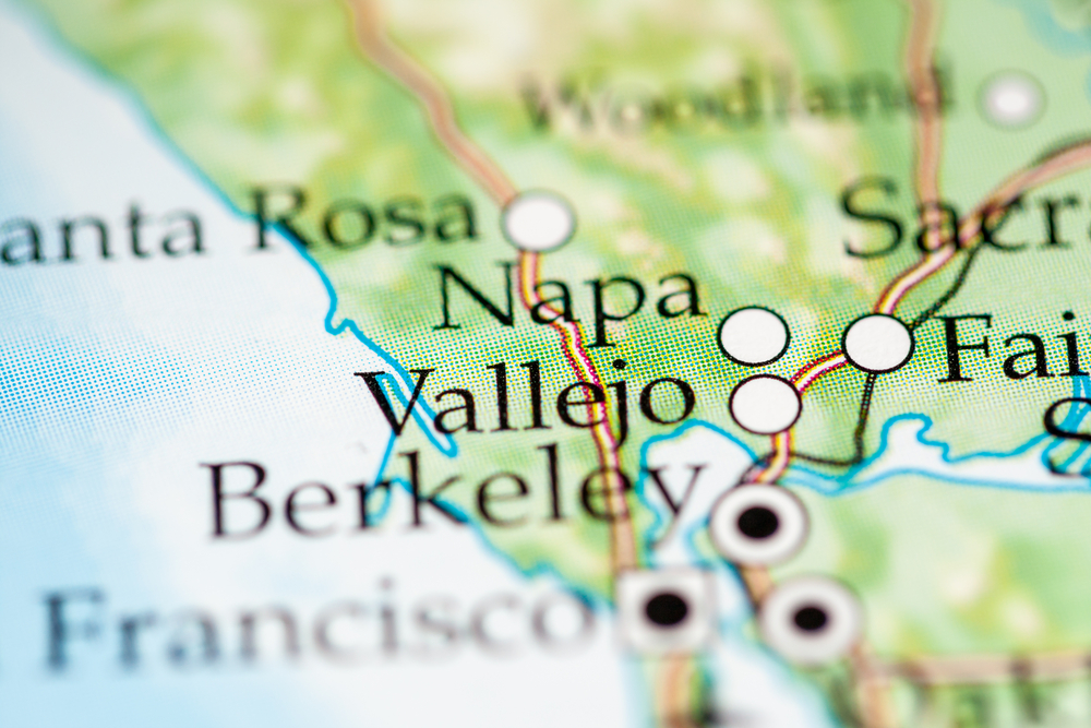A map of the Bay Area with cities like Vallejo, Napa, and Santa Rosa marked.