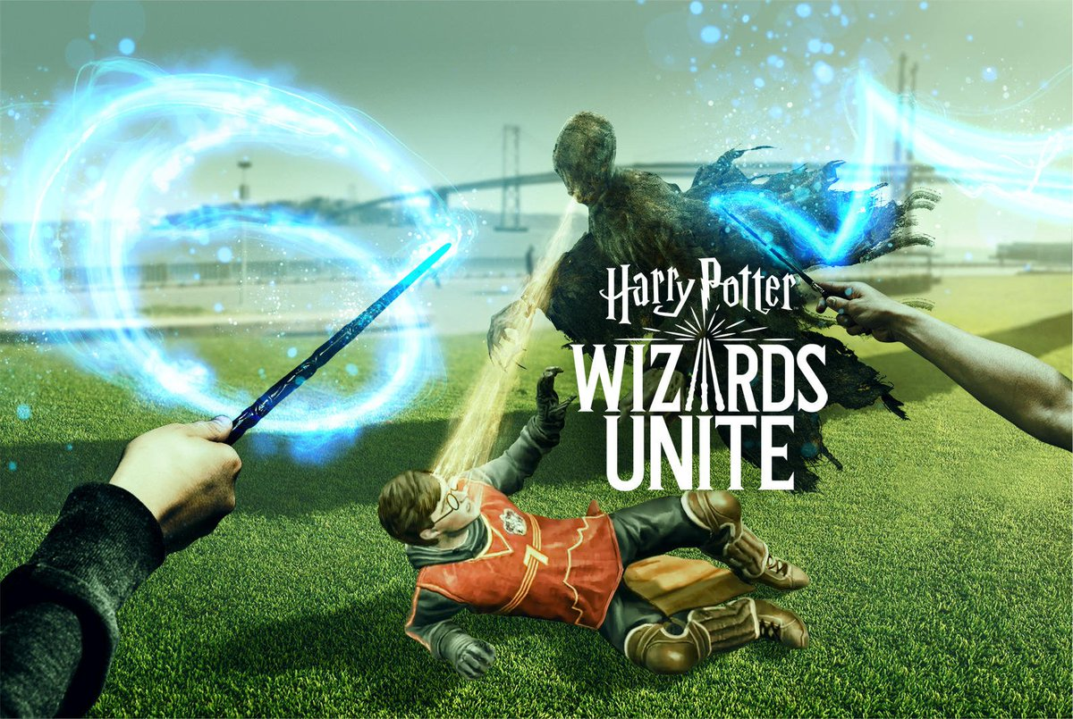 Artwork showing wands in hand to stop a Dementor, from Harry Potter: Wizards Unite.