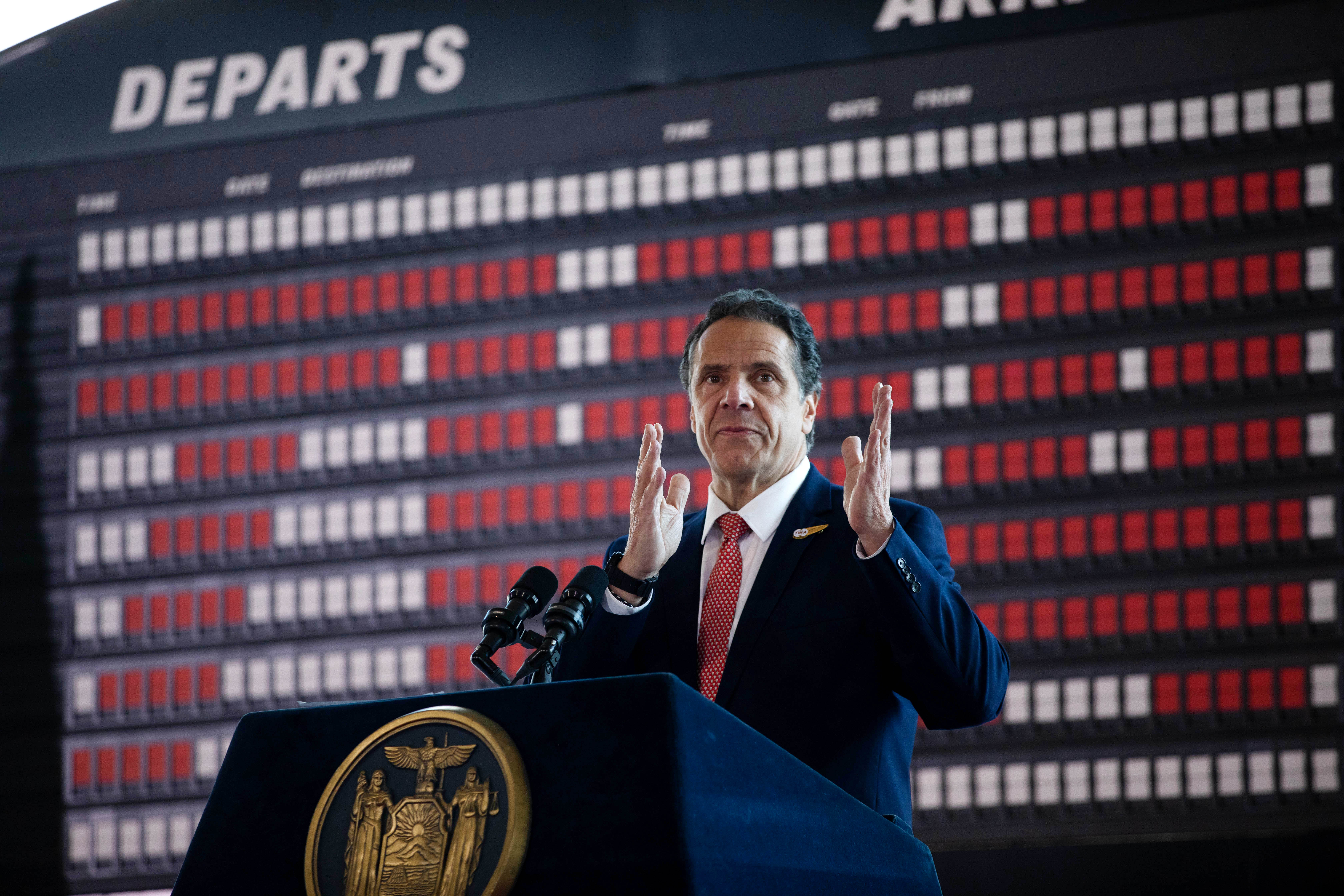 New York Gov. Andrew Cuomo (D) speaks in the new TWA Hotel at JFK Airport on May 15, 2019.