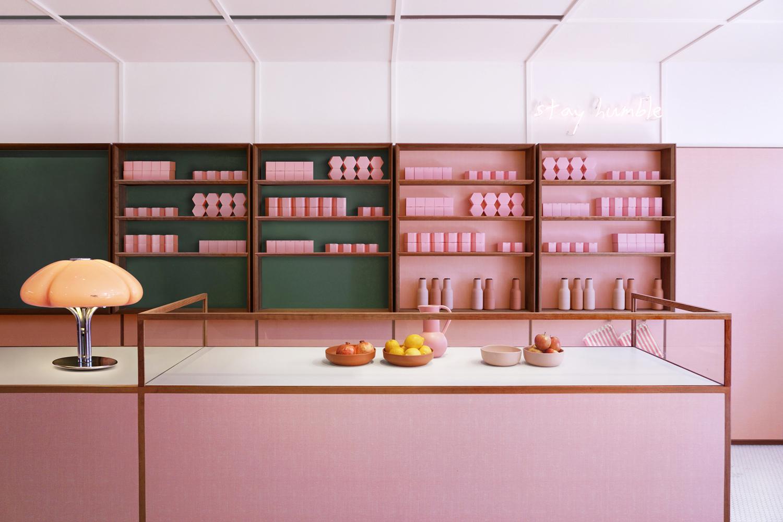 Pink and green restaurant interior