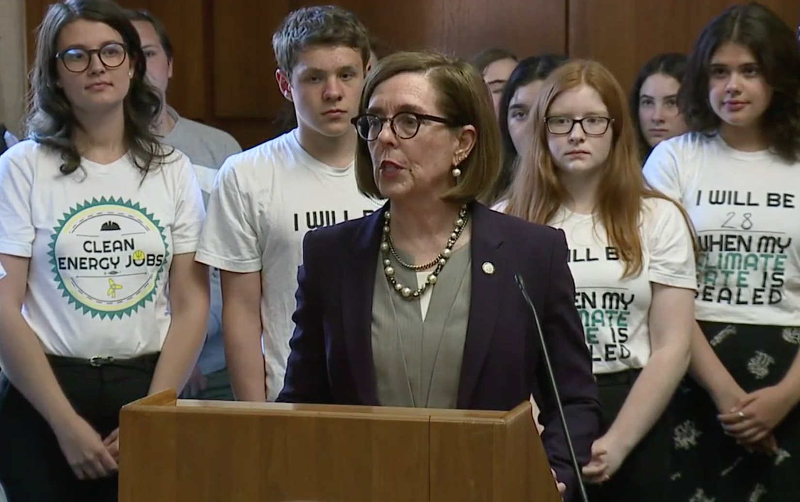 Oregon Gov. Kate Brown lamented that Republicans fled the state to avoid voting on a historic climate change bill during a press conference on June 20, 2019.