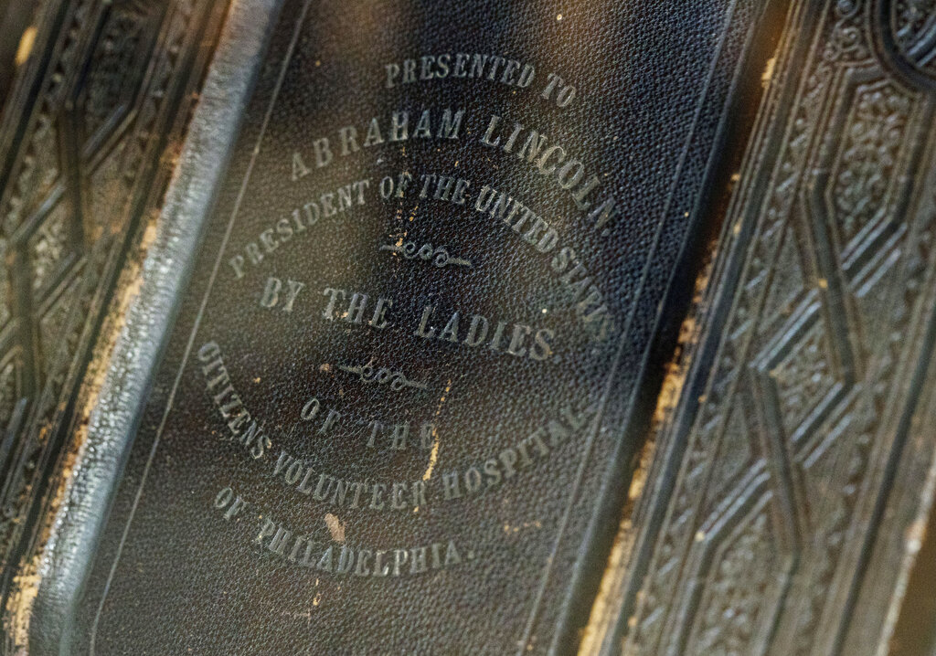 The cover of Lincoln's bible, on display in Springfield