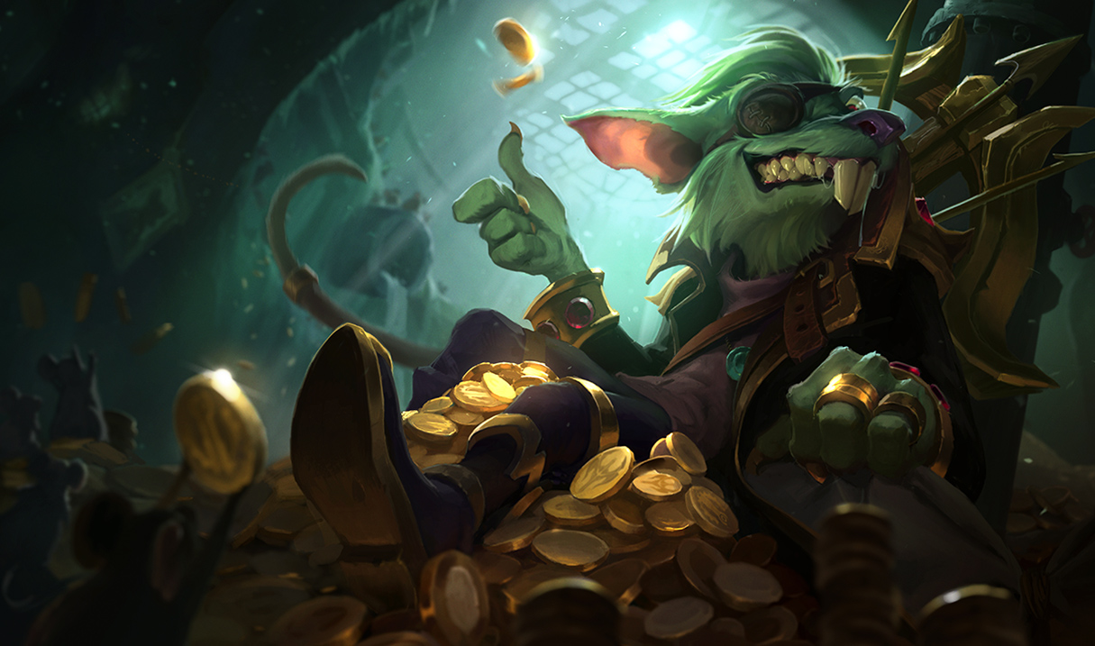 Twitch sits on a pile of gold coins and flips a single coin with his thumb