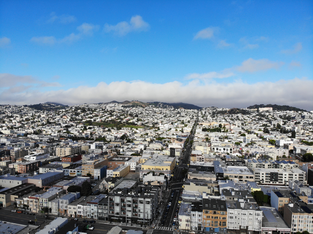 An aerial photo of houses in San Francisco