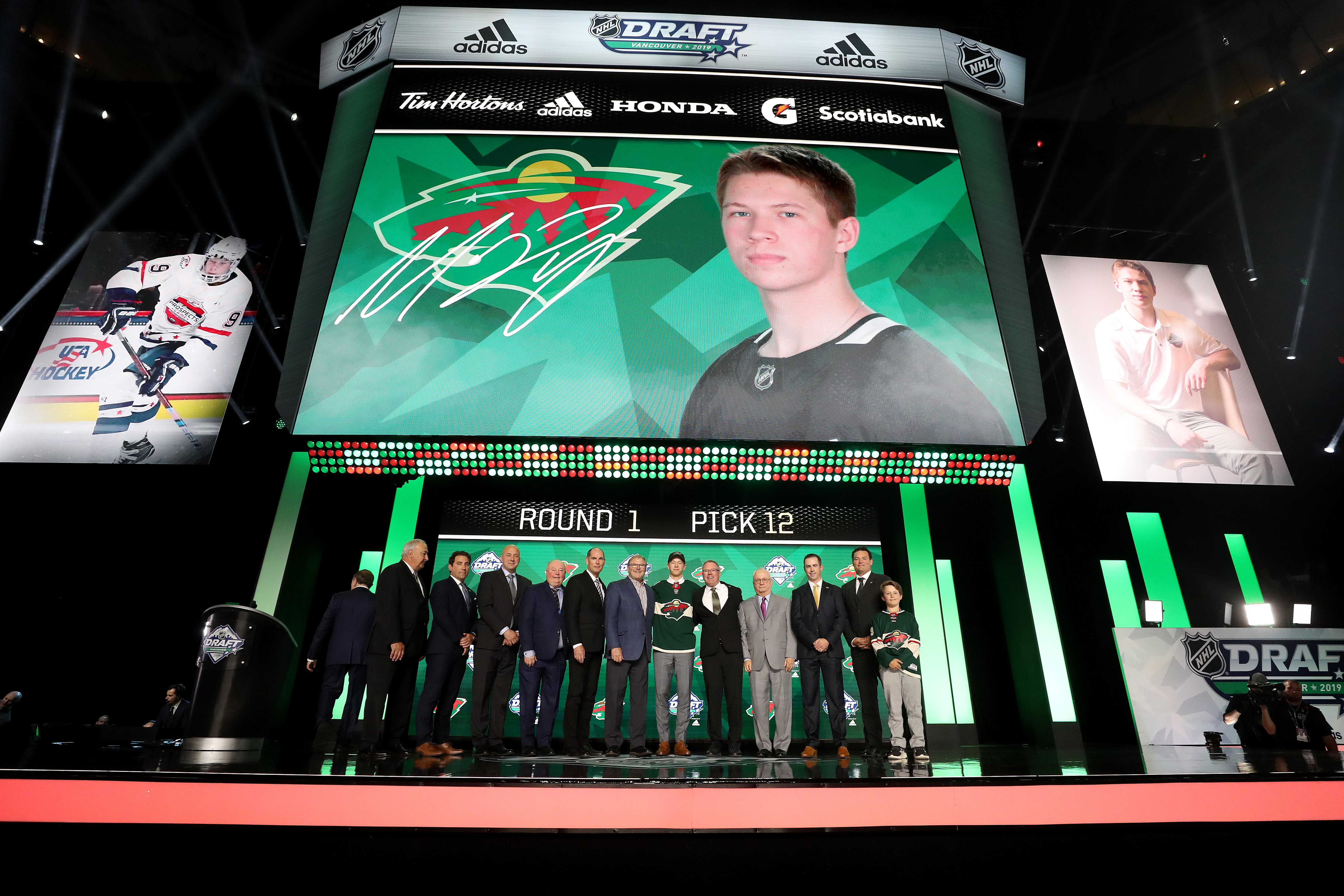 VANCOUVER, BRITISH COLUMBIA - JUNE 21: Matthew Boldy reacts after being selected twelfth overall by the Minnesota Wild during the first round of the 2019 NHL Draft at Rogers Arena on June 21, 2019 in Vancouver, Canada.