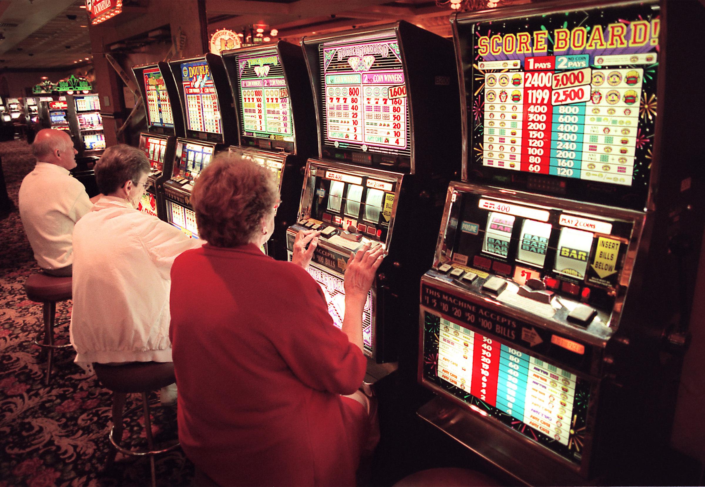 Gamblers play slots at the Grand Victoria Casino in Elgin.