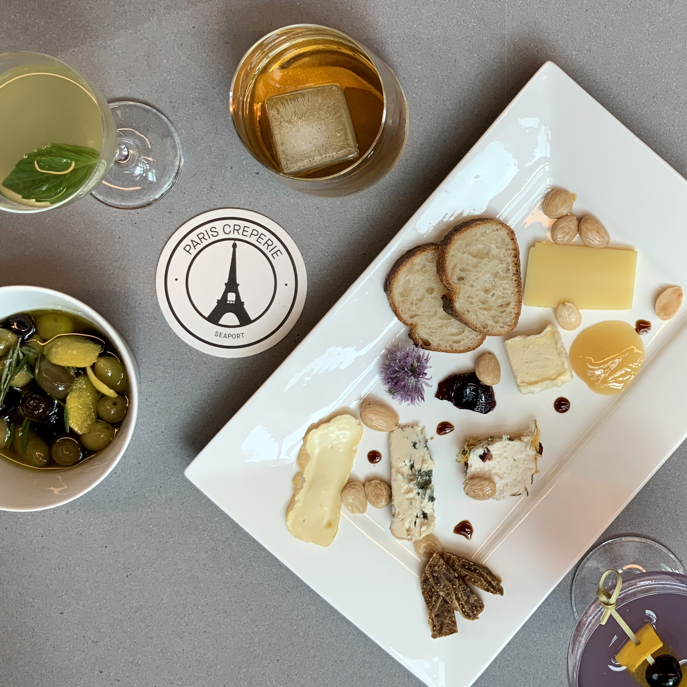 Food and drink spread at Paris Creperie Seaport