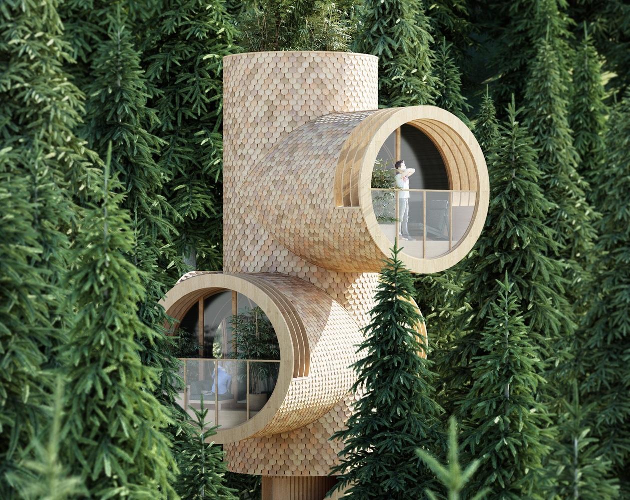 Prefab treehouses look like periscopes peeking through the forest