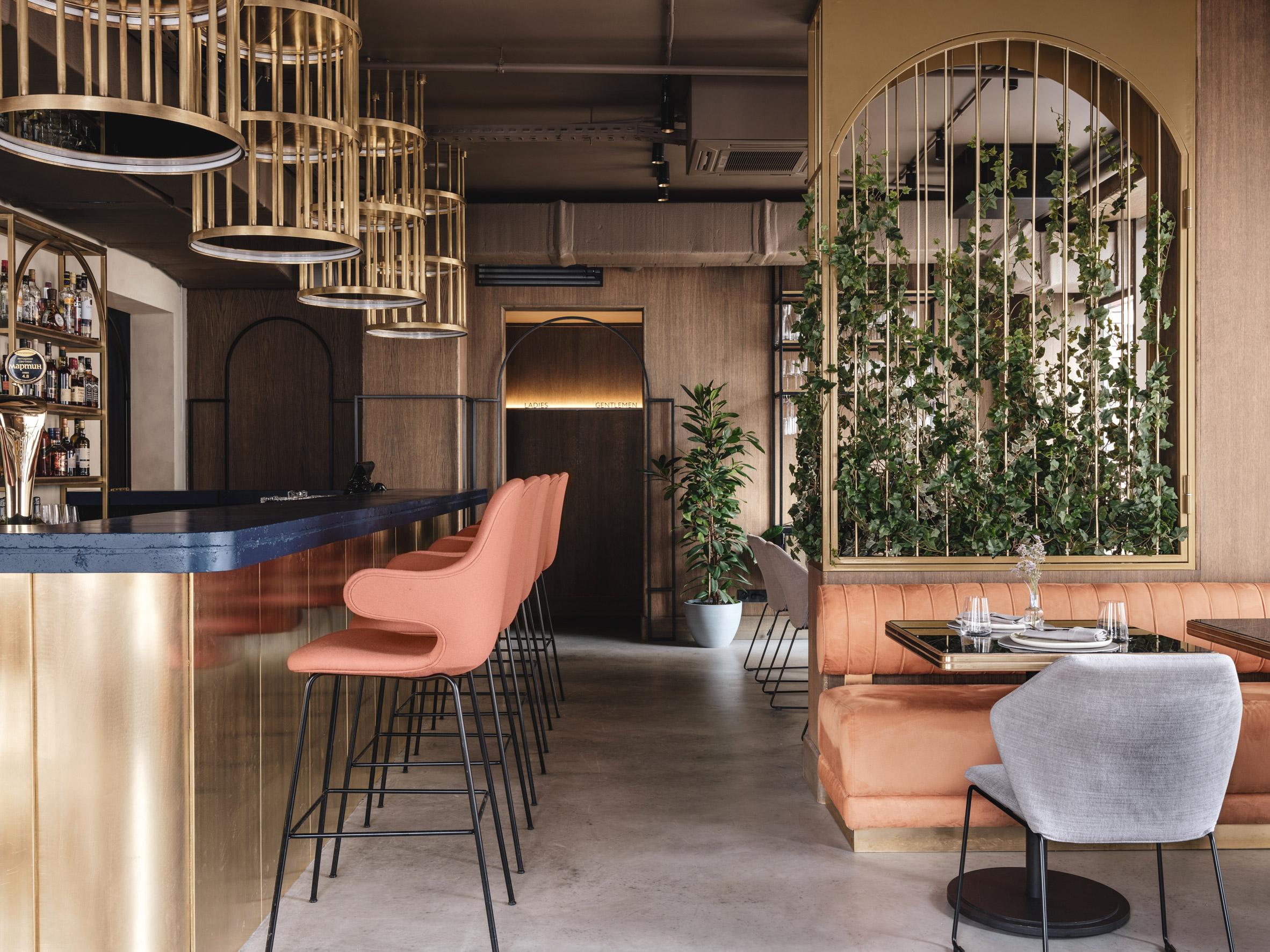 Bar with peach bar stools