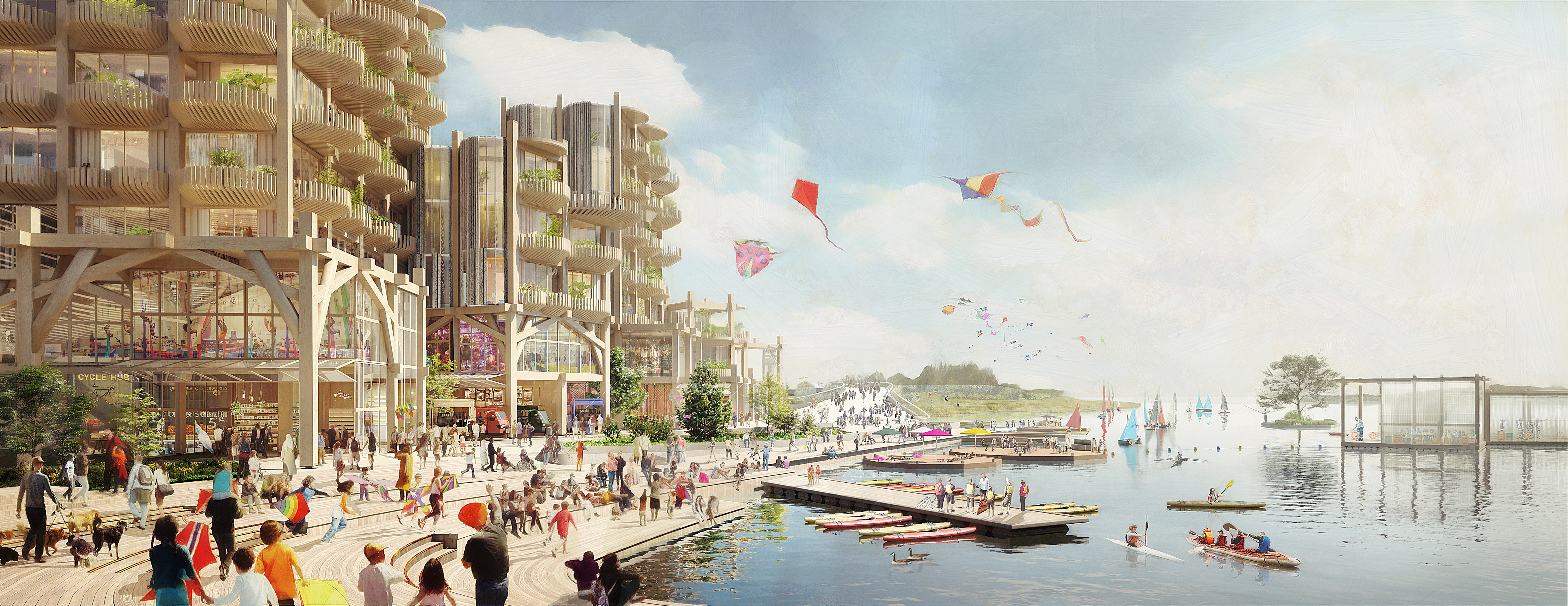 A rendering of an idealized neighborhood with modern buildings made from timber and people walking on a waterfront promenade and flying kites.