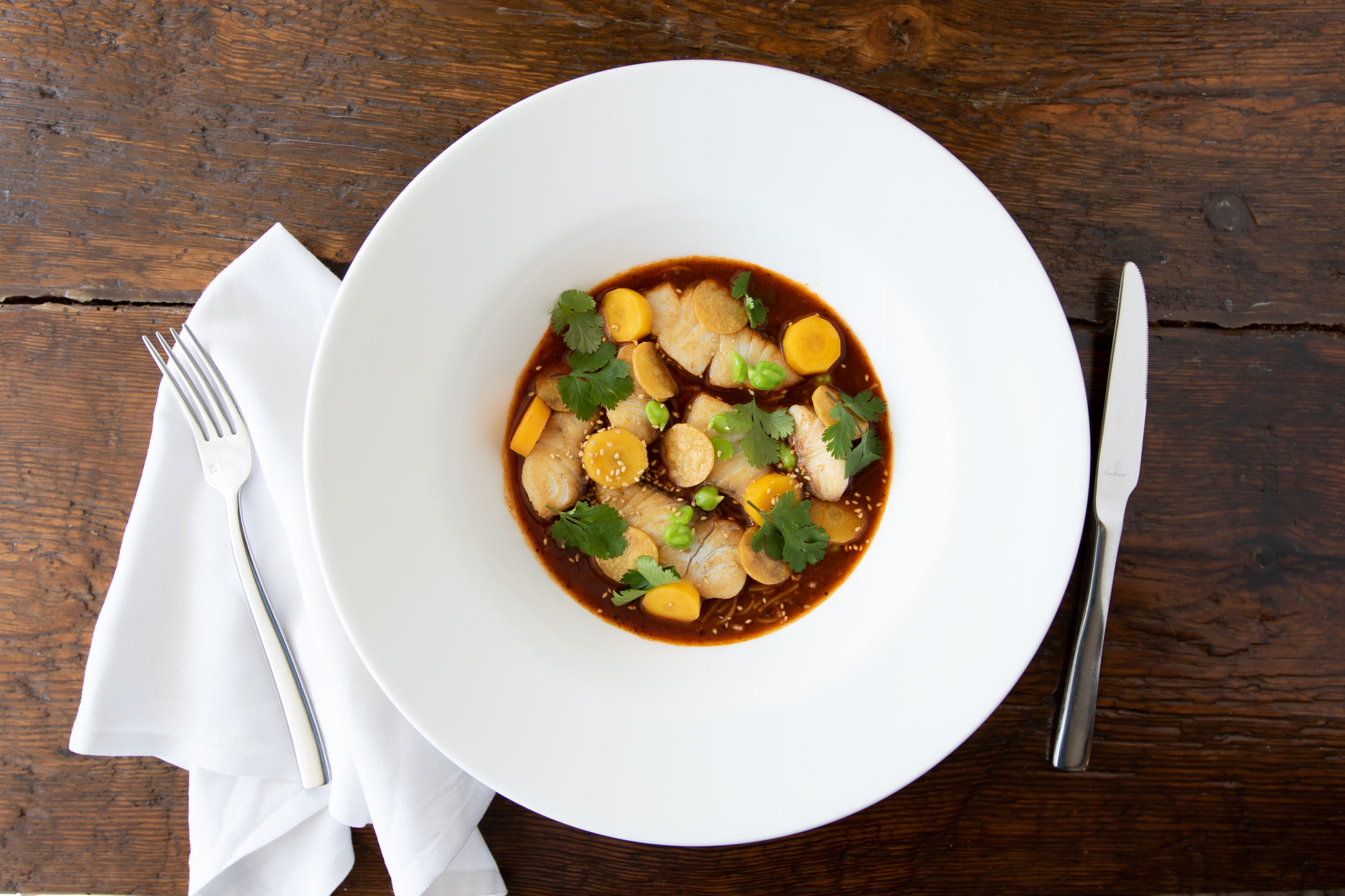 Ancho chile red snapper stew at the Table at Season to Taste