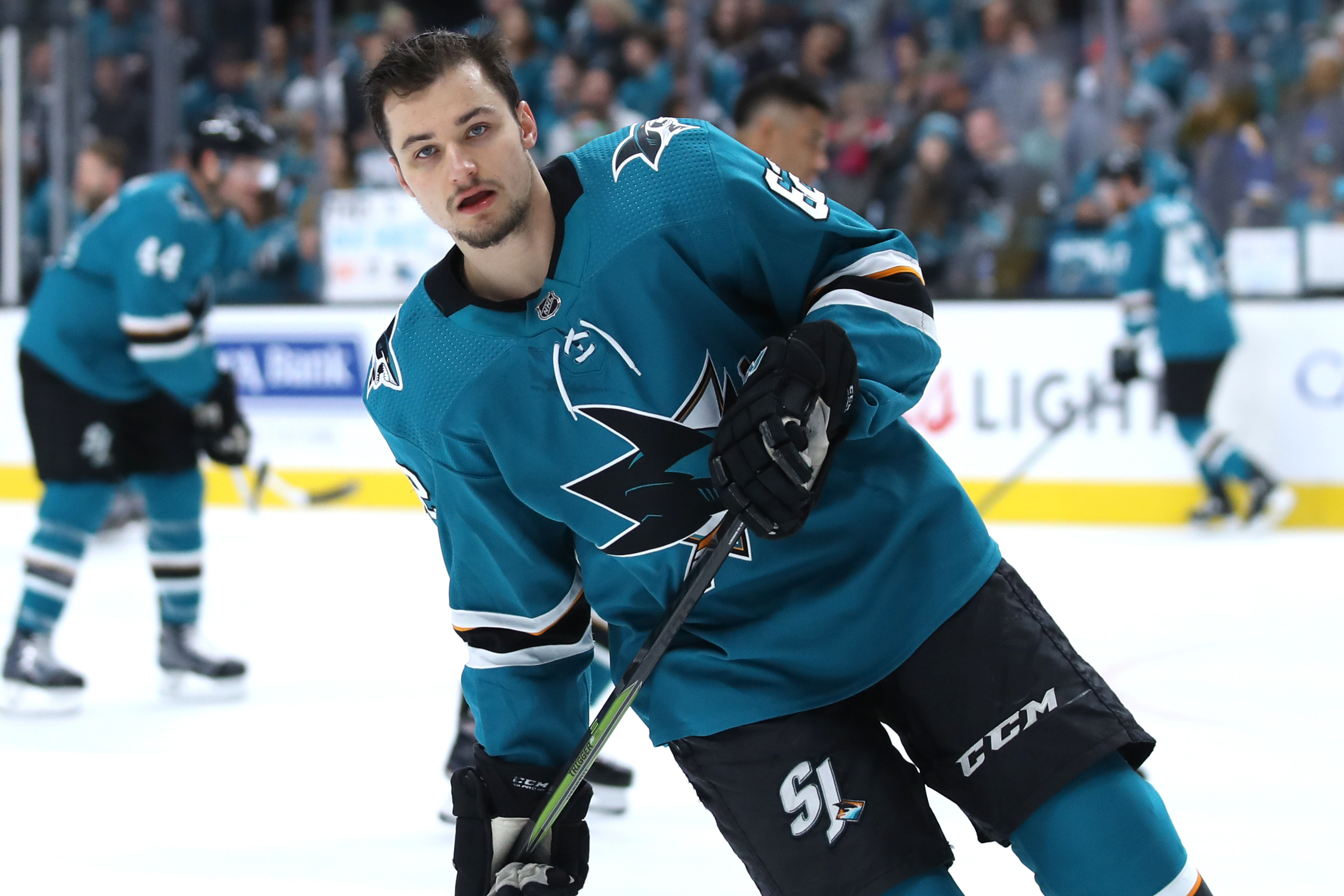 May 19, 2019; San Jose, CA, USA; San Jose Sharks right wing Kevin Labanc (62) skates on the ice before the game against the St. Louis Blues in Game 5 of the Western Conference Final of the 2019 Stanley Cup Playoffs at SAP Center at San Jose.