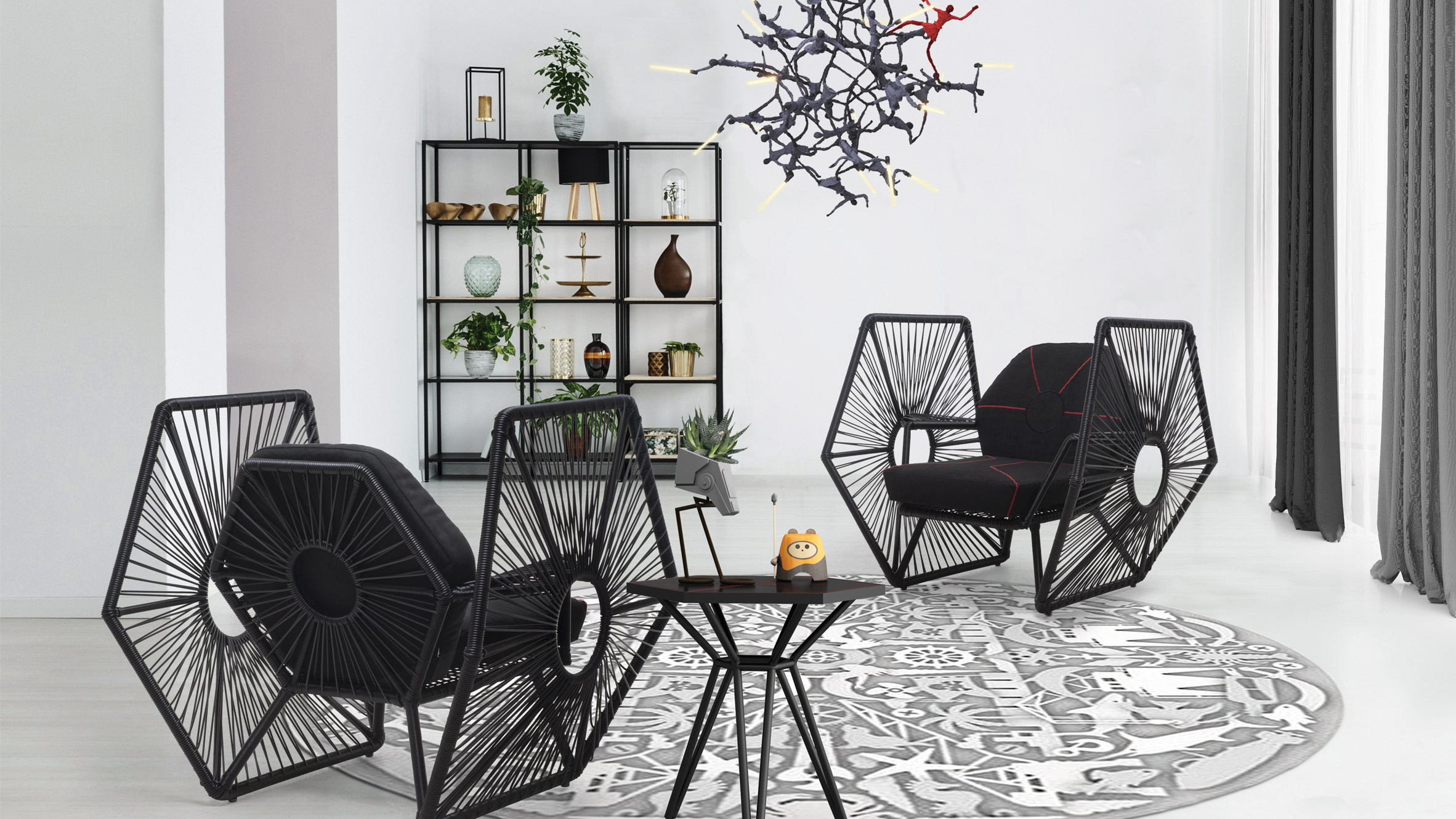 Dark chairs in living room