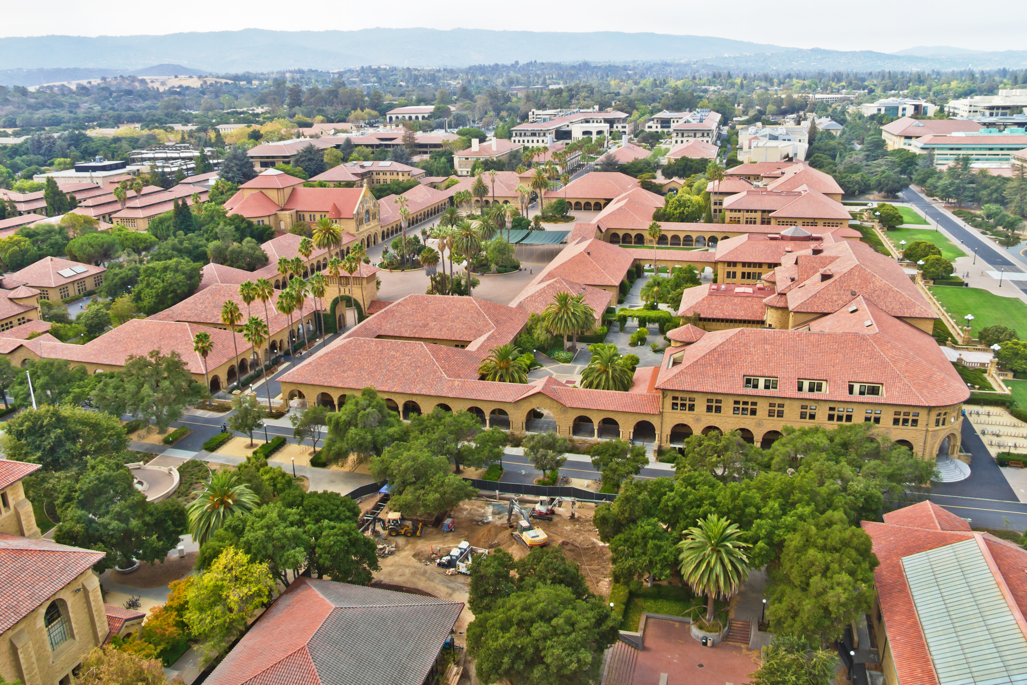 An aerial photo of Palo Alto, including historic Stanford buildings.