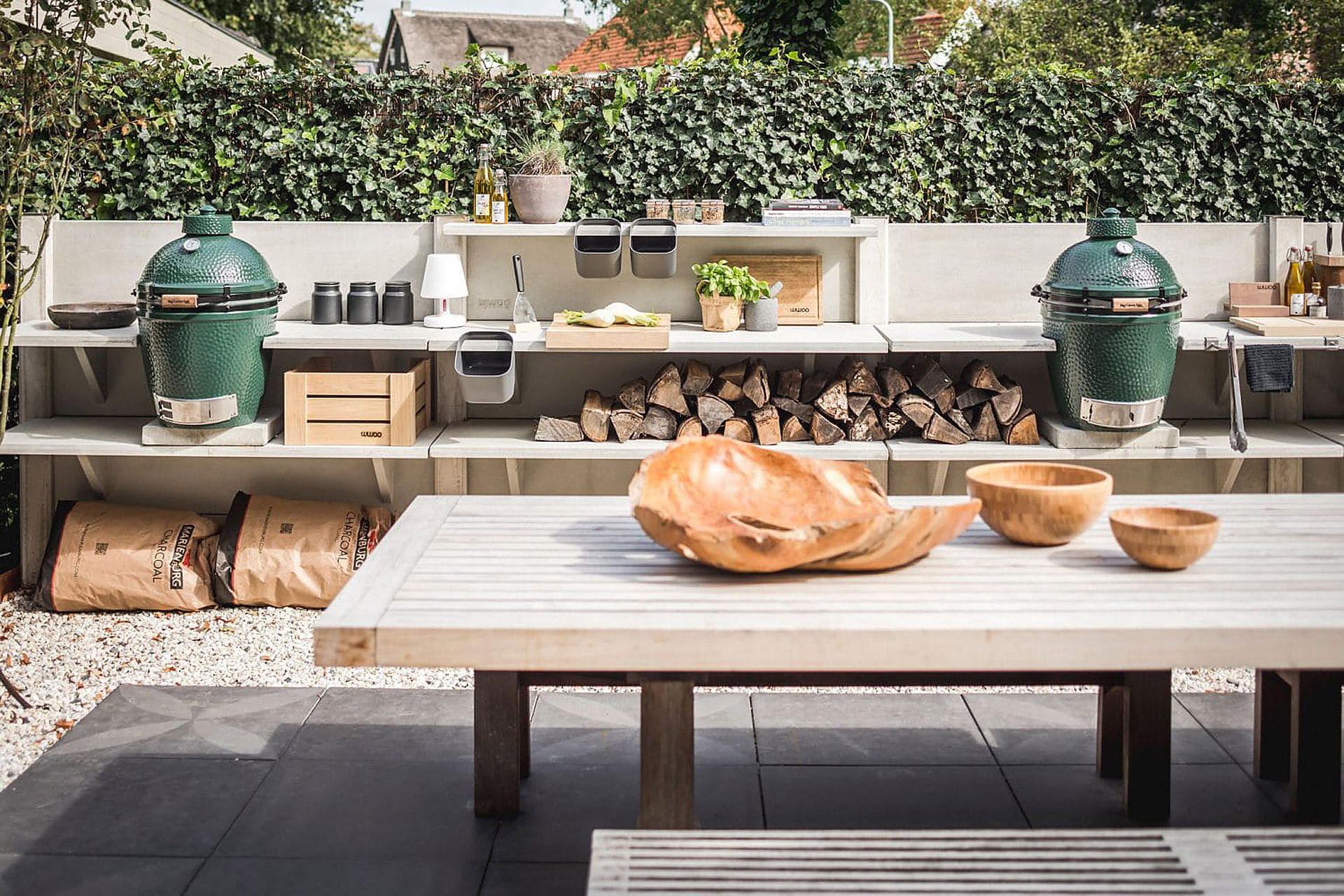 Outdoor kitchen with concrete counter tops
