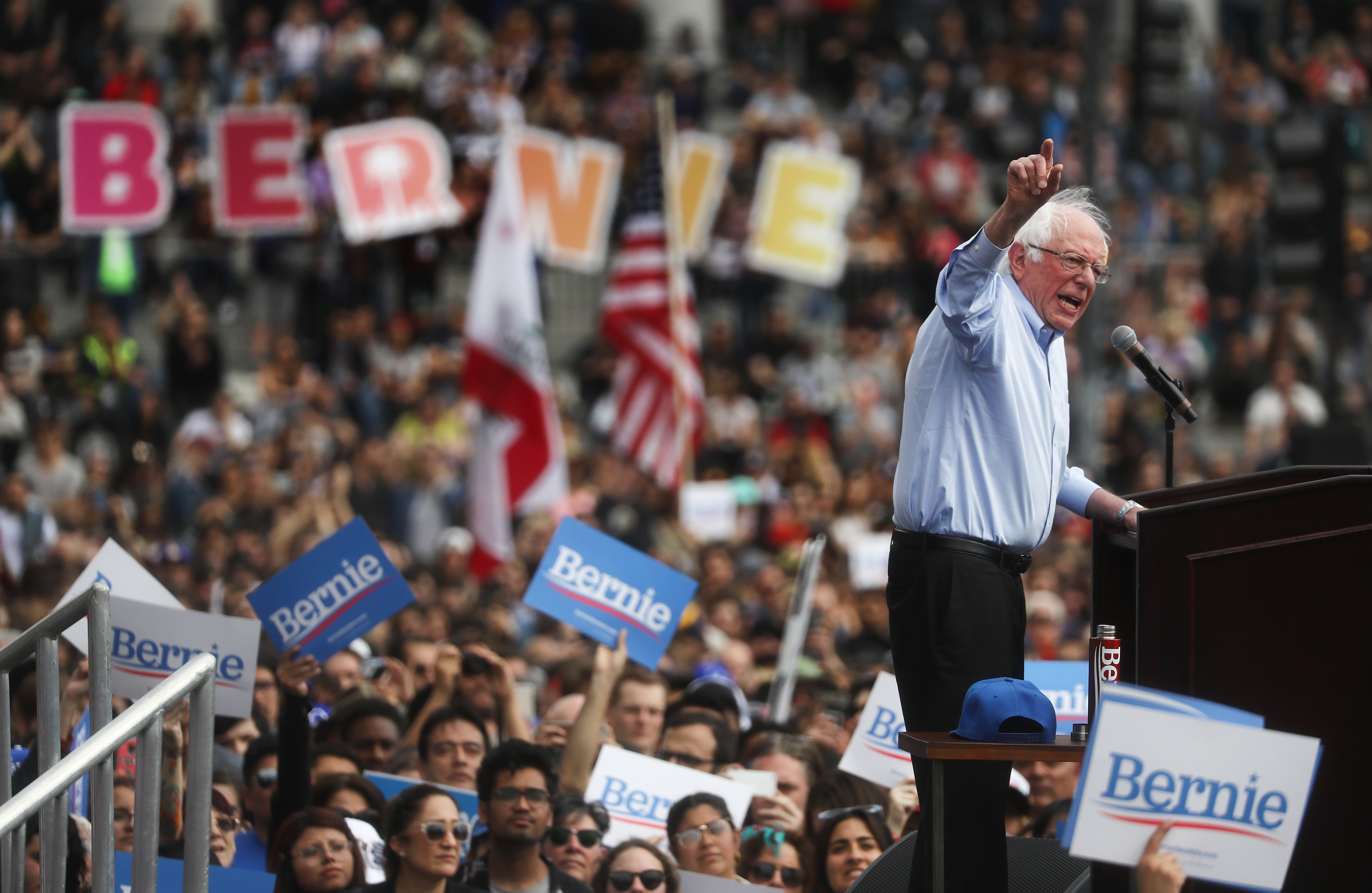 Bernie Sanders at a rally in 2019.