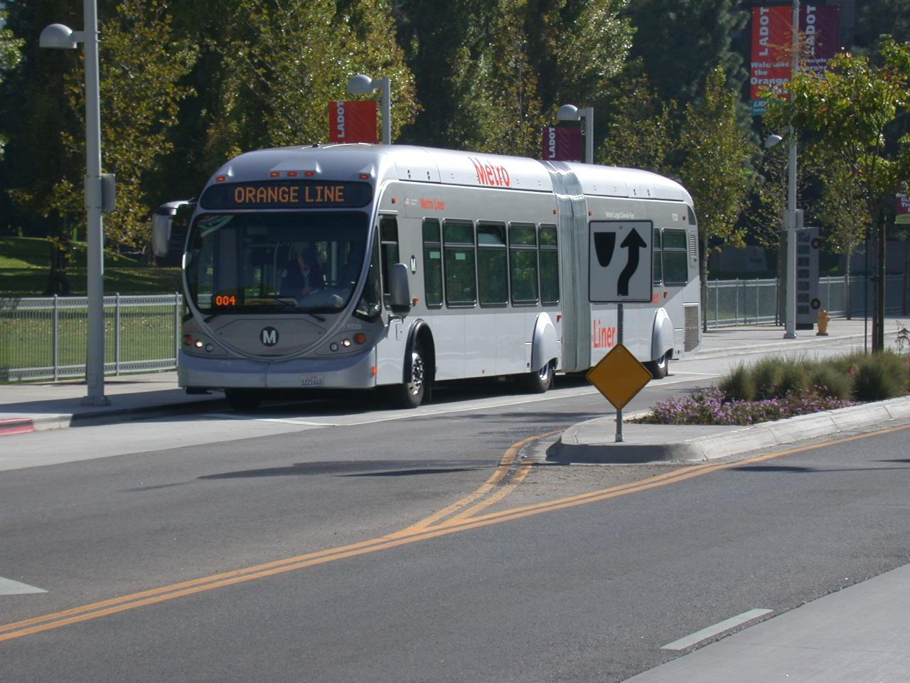 Orange Line bus in the San Fernando Valley