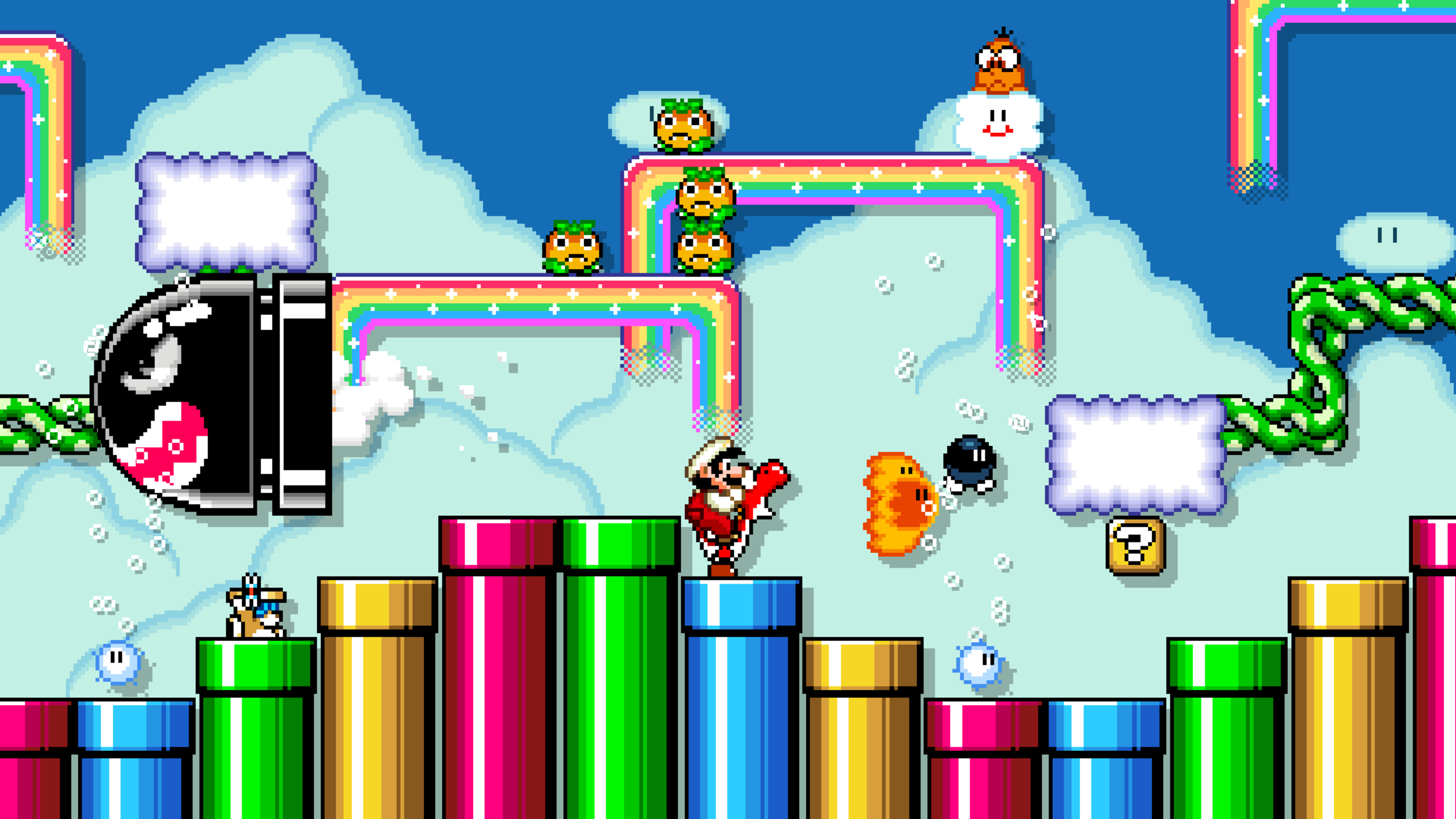 Fire Mario sitting on top of Fire Yoshi, who is standing on top of a sequence of vertical pipes while spitting fire