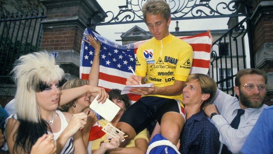 Greg LeMond signing autographs after his 1986 Tour victory