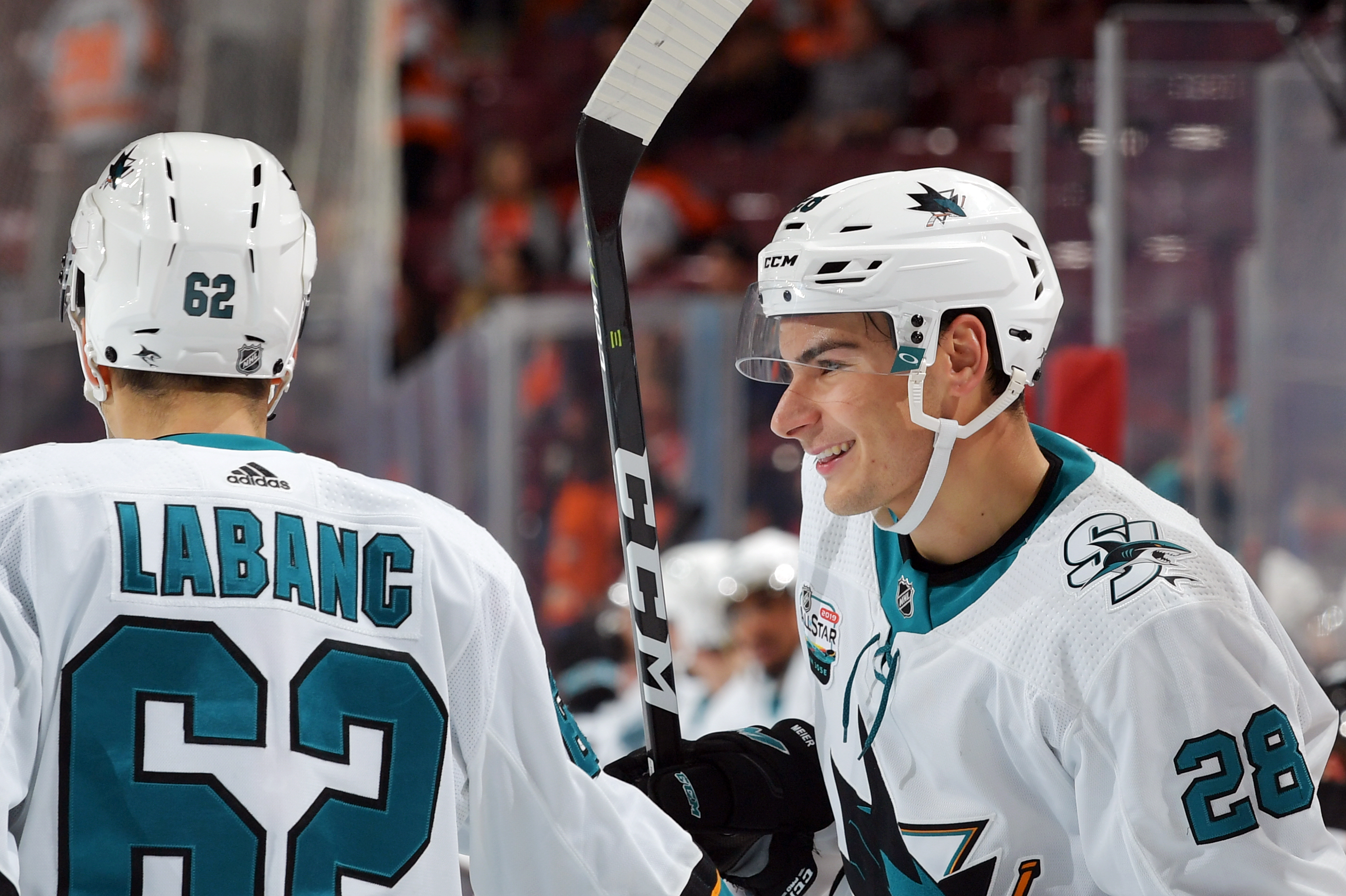PHILADELPHIA, PA - OCTOBER 09: Kevin Labanc and Timo Meier of the San Jose Sharks celebrate a third period goal against the Philadelphia Flyers at the Wells Fargo Center on October 9, 2018 in Philadelphia, Pennsylvania. The Sharks won 8-2.