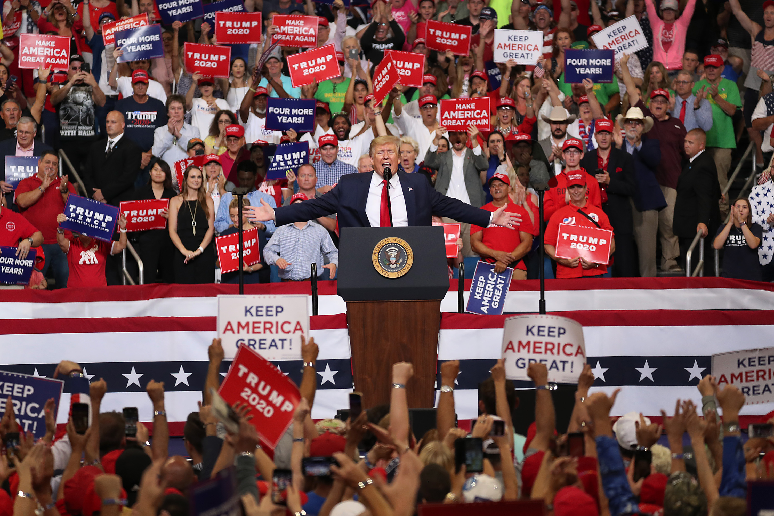 President Donald Trump at a rally announcing his reelection campaign.