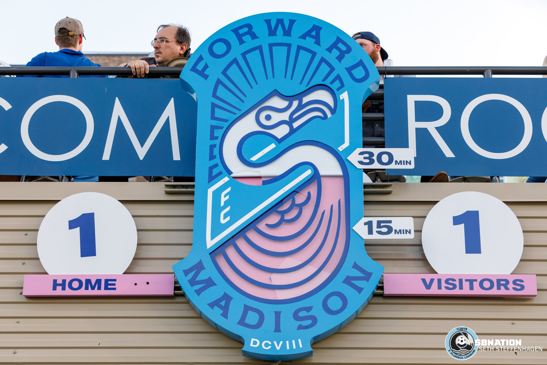 June 25, 2019 - Madison, Wisconsin, United States - The scoreboard at Breese Stevens Field during the Forward Madison FC vs Minnesota United FC friendly match.
