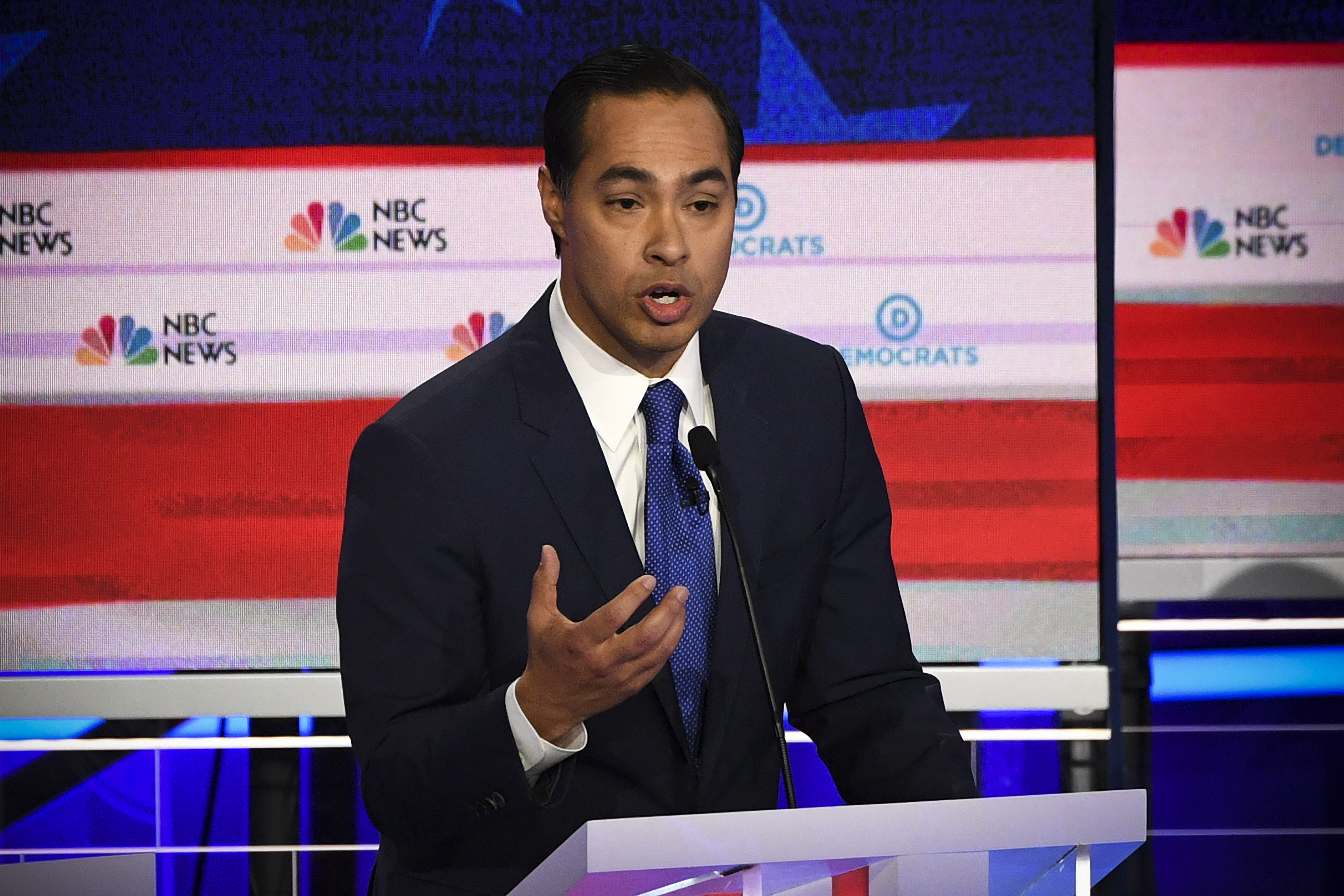 Democratic presidential hopeful former US Secretary of Housing and Urban Development Julian Castro speaks during the first Democratic primary debate of the 2020 presidential campaign season in Miami, Florida, June 26, 2019.