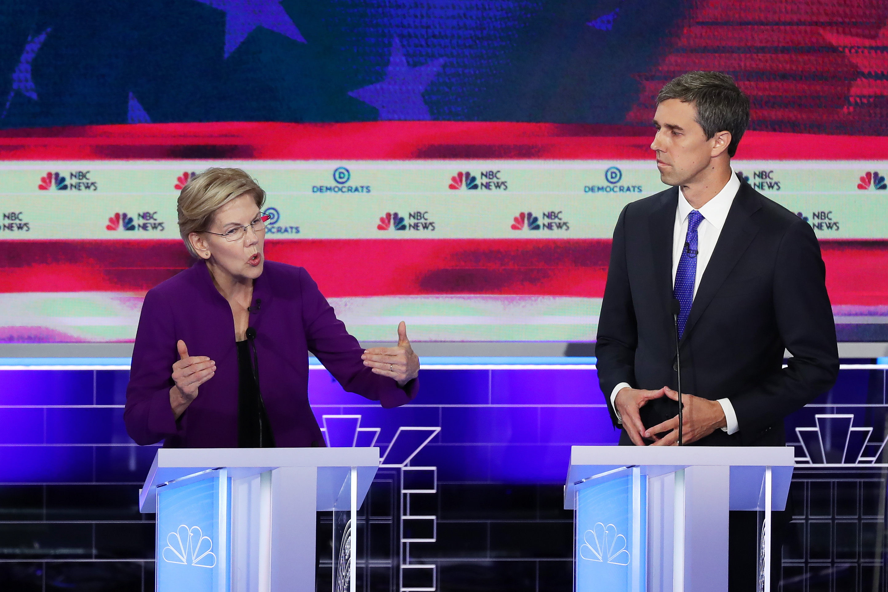 Sen. Elizabeth Warren (D-MA) and former Texas congressman Beto O'Rourke both said that climate change was the top threat to the United States during the first Democratic 2020 presidential debate.