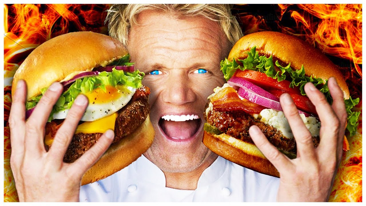 Gordon Ramsay depicted holding two huge burgers, with a fire background and artificial blue eyes