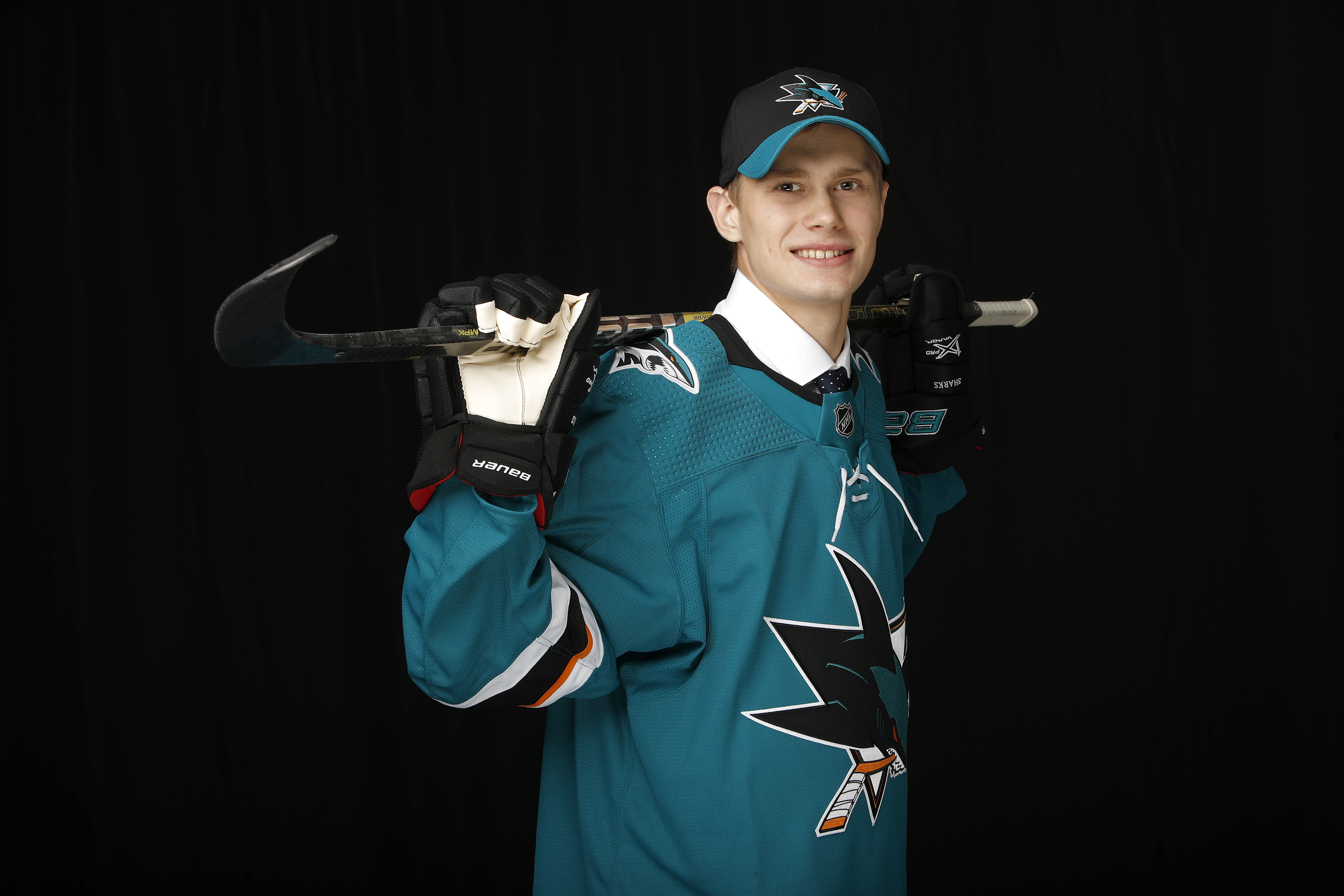 VANCOUVER, BRITISH COLUMBIA - JUNE 22: Yegor Spiridonov poses after being selected 108th overall by the San Jose Sharks during the 2019 NHL Draft at Rogers Arena on June 22, 2019 in Vancouver, Canada.