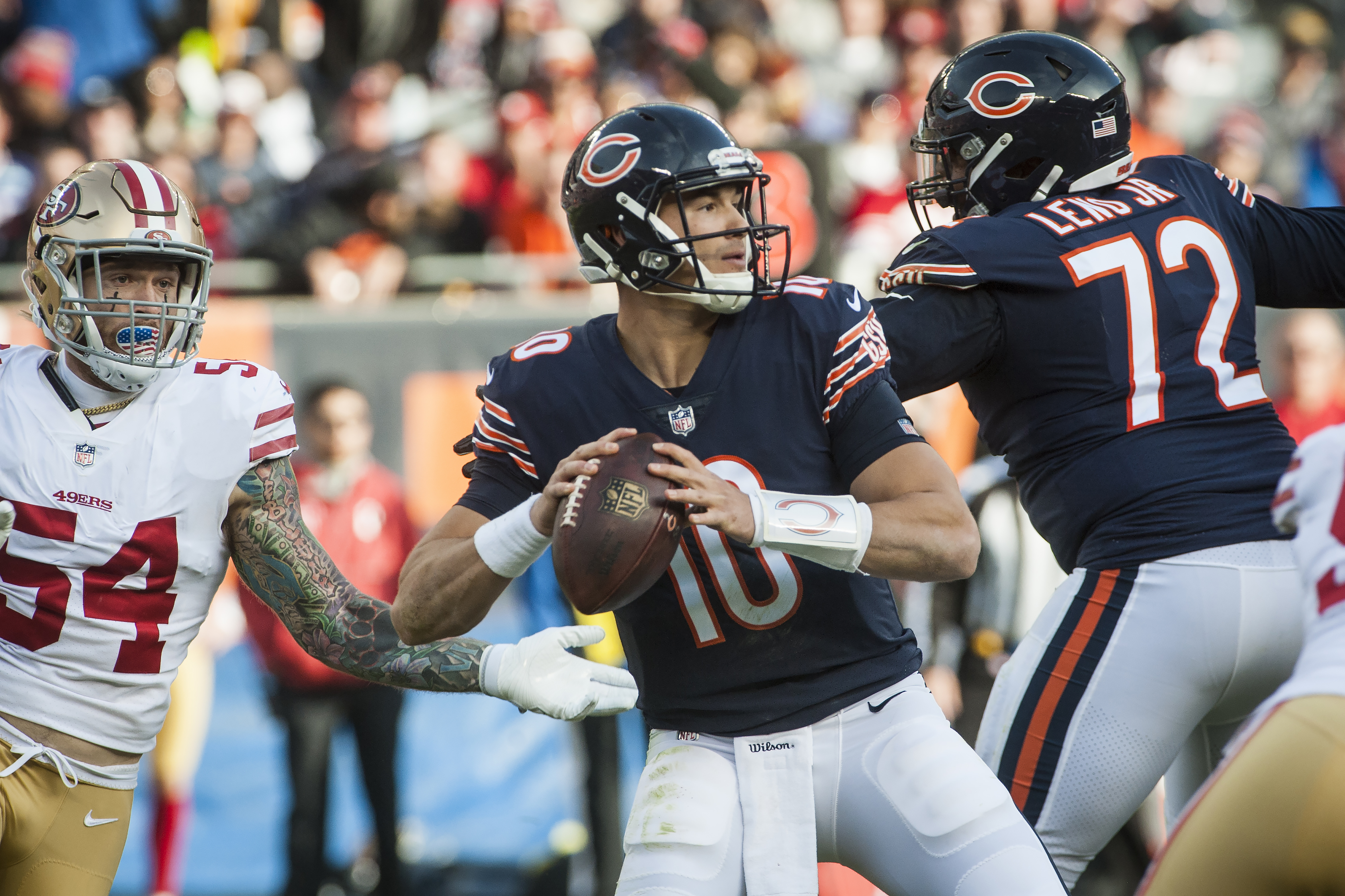 Chicago Bears Quarterback Mitch Trubisky #10 looks to pass the ball during the fourth quarter against the San Francisco 49ers at Soldier Field, Sunday, Dec. 3, 2017.