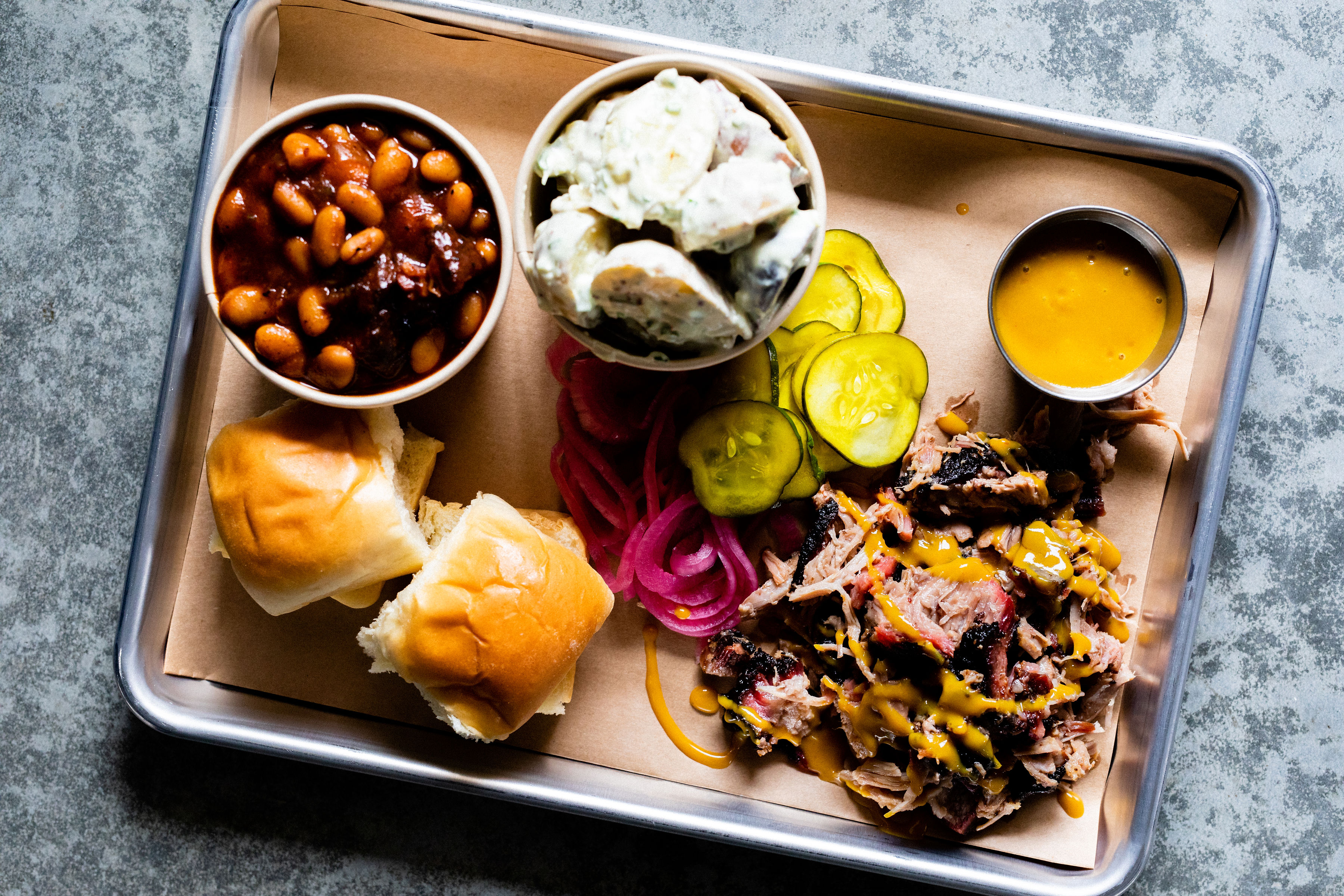 A tray from Big Sur Smokehouse