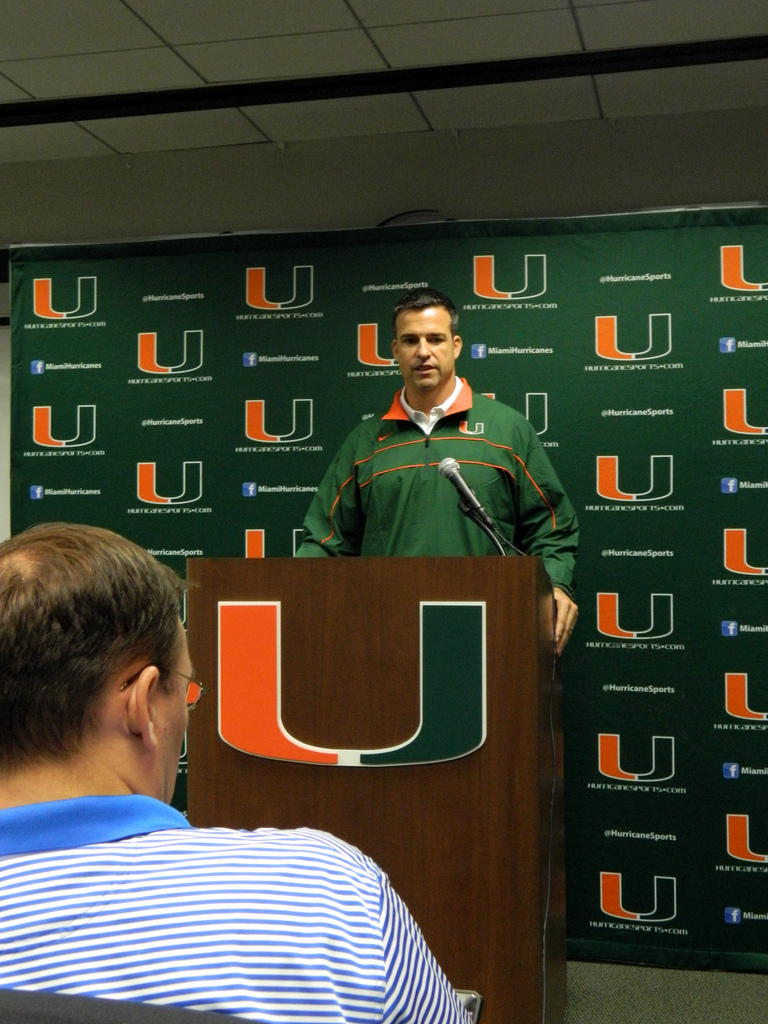 Mario Cristobal is introduced to the media as the new Associate Head Coach at UM on Friday