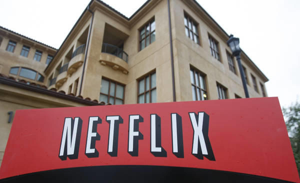 This Jan. 29, 2010, photo, shows the company logo and view of Netflix headquarters in Los Gatos, Calif.