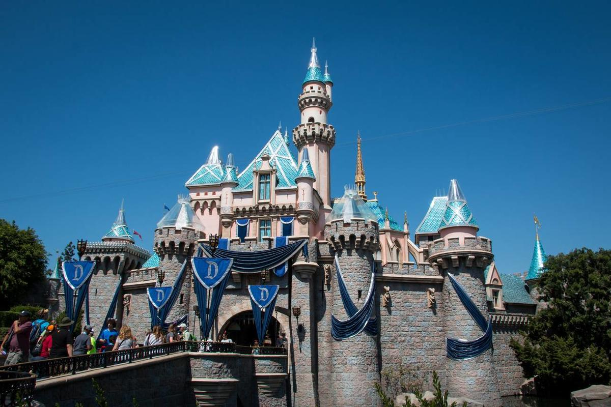 Sleeping Beauty\'s Castle decorated for the Diamond Celebration at Disneyland that begins on May 22.