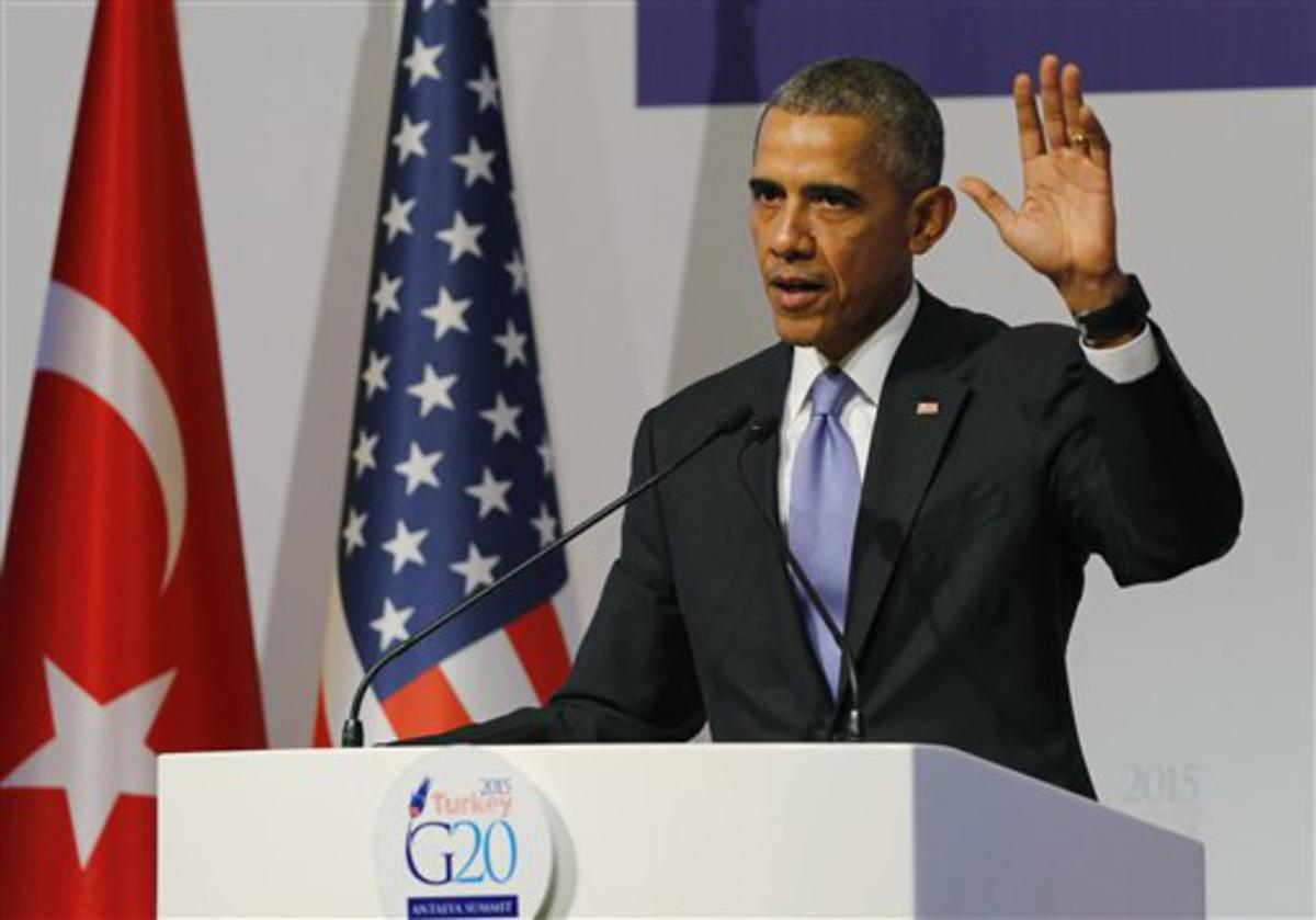 U.S. President Barack Obama gestures to journalists following a news conference at the end of the G-20 summit in Antalya, Turkey, Monday, Nov. 16, 2015. The Paris terror attacks have sparked widespread calls from congressional Republicans to end or limit