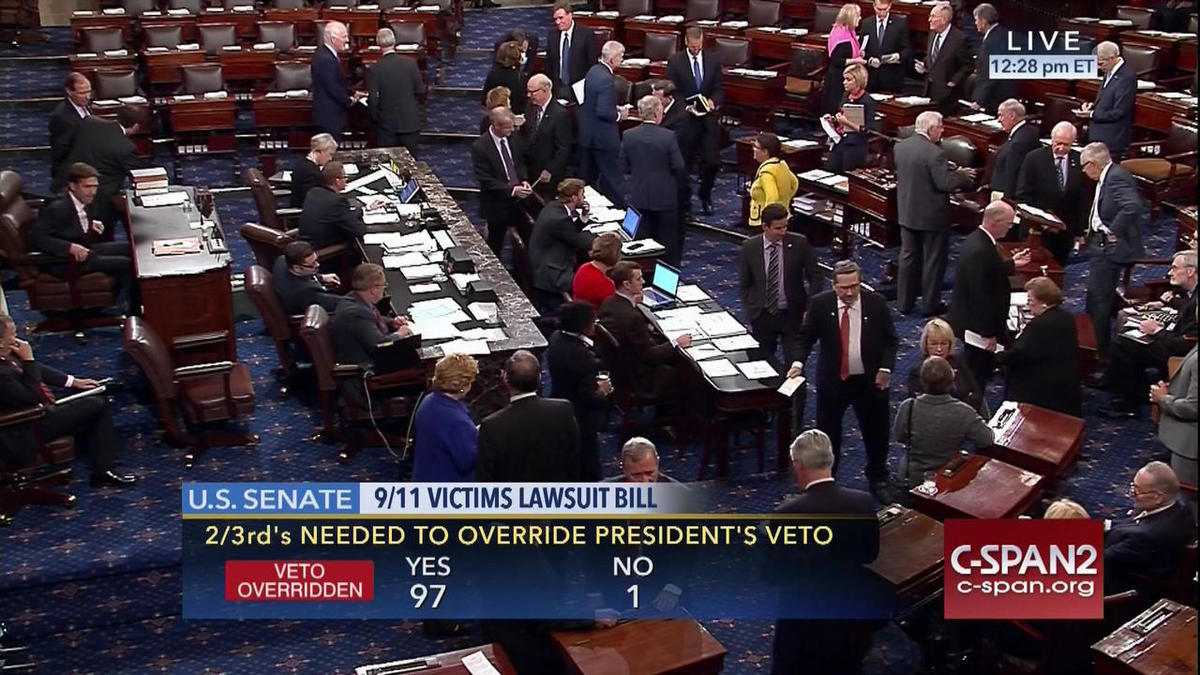 This frame grab from video provided by C-SPAN2, shows the floor of the Senate on Capitol Hill in Washington, Wednesday, Sept. 28, 2016, as the Senate acted decisively to override President Barack Obama's veto of Sept. 11 legislation, setting the stage for
