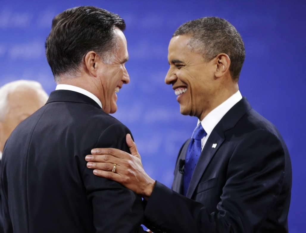 Republican presidential nominee Mitt Romney, left, is greeted by President Barack Obama before the start of the third presidential debate Oct. 22 at Lynn University in Boca Raton, Fla.