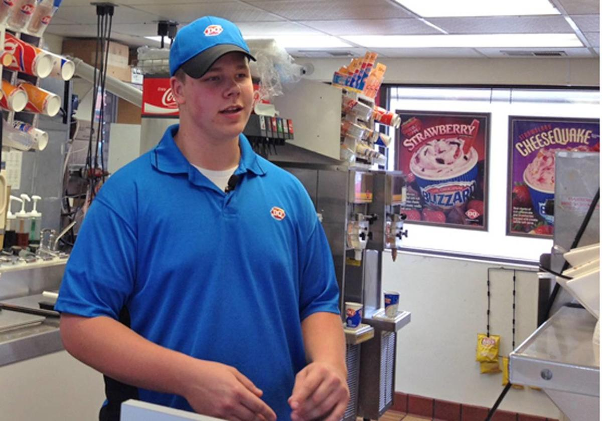 In this screen grab provided by WCCO TV is Dairy Queen employee Joey Prusak in Hopkins, Minn.