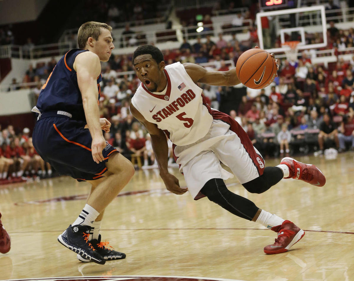 Stanford's Chasson Randle (5) in action against Bucknell during an NCAA basketball game on Friday, Nov. 8, 2013, in Stanford, Calif.