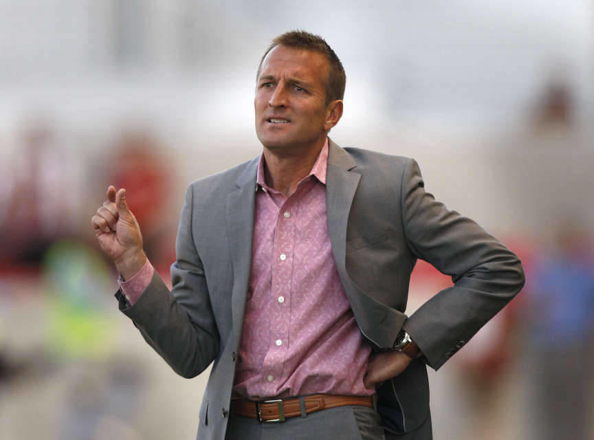 Real coach Jason Kreis gestures as the Real Salt Lake are defeated by the Minnesota Stars FC 3-1 as they play soccer Tuesday, May 29, 2012, in Sandy, Utah.